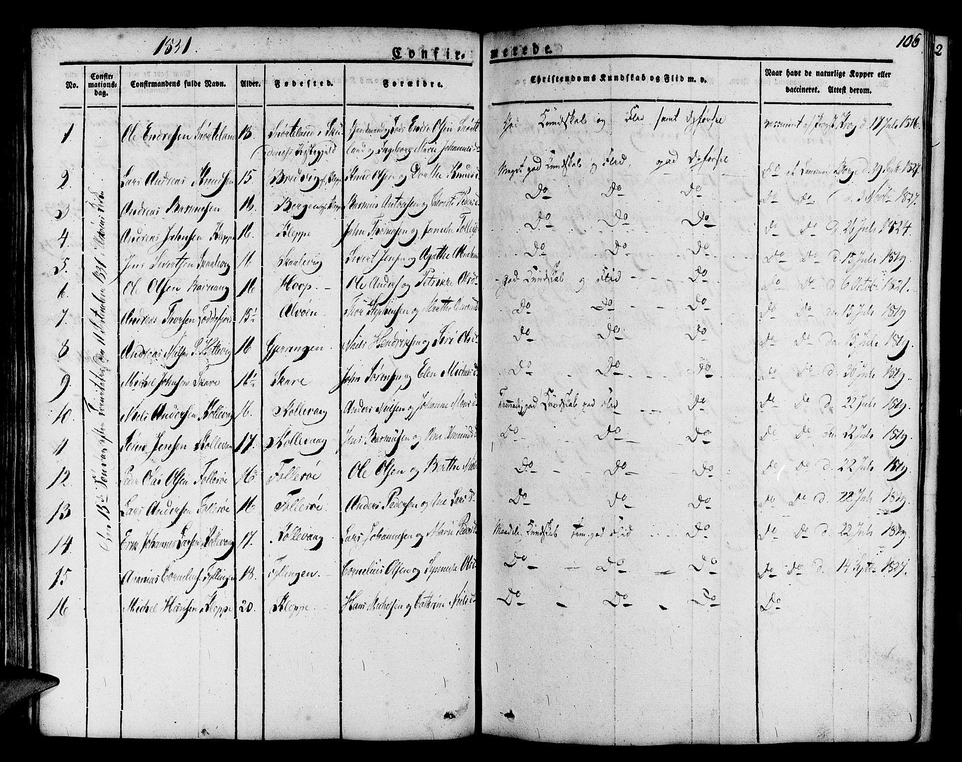 SAB, Askøy Sokneprestembete, H/Ha/Haa/Haaa/L0004: Parish register (official) no. A 4, 1825-1845, p. 106
