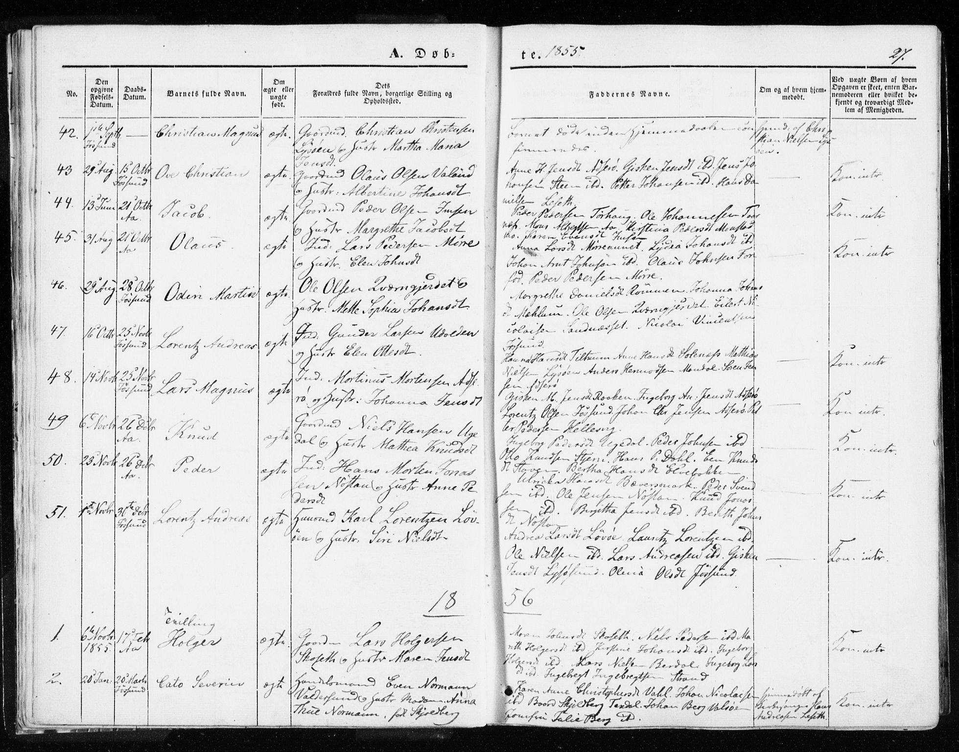 SAT, Ministerialprotokoller, klokkerbøker og fødselsregistre - Sør-Trøndelag, 655/L0677: Parish register (official) no. 655A06, 1847-1860, p. 27
