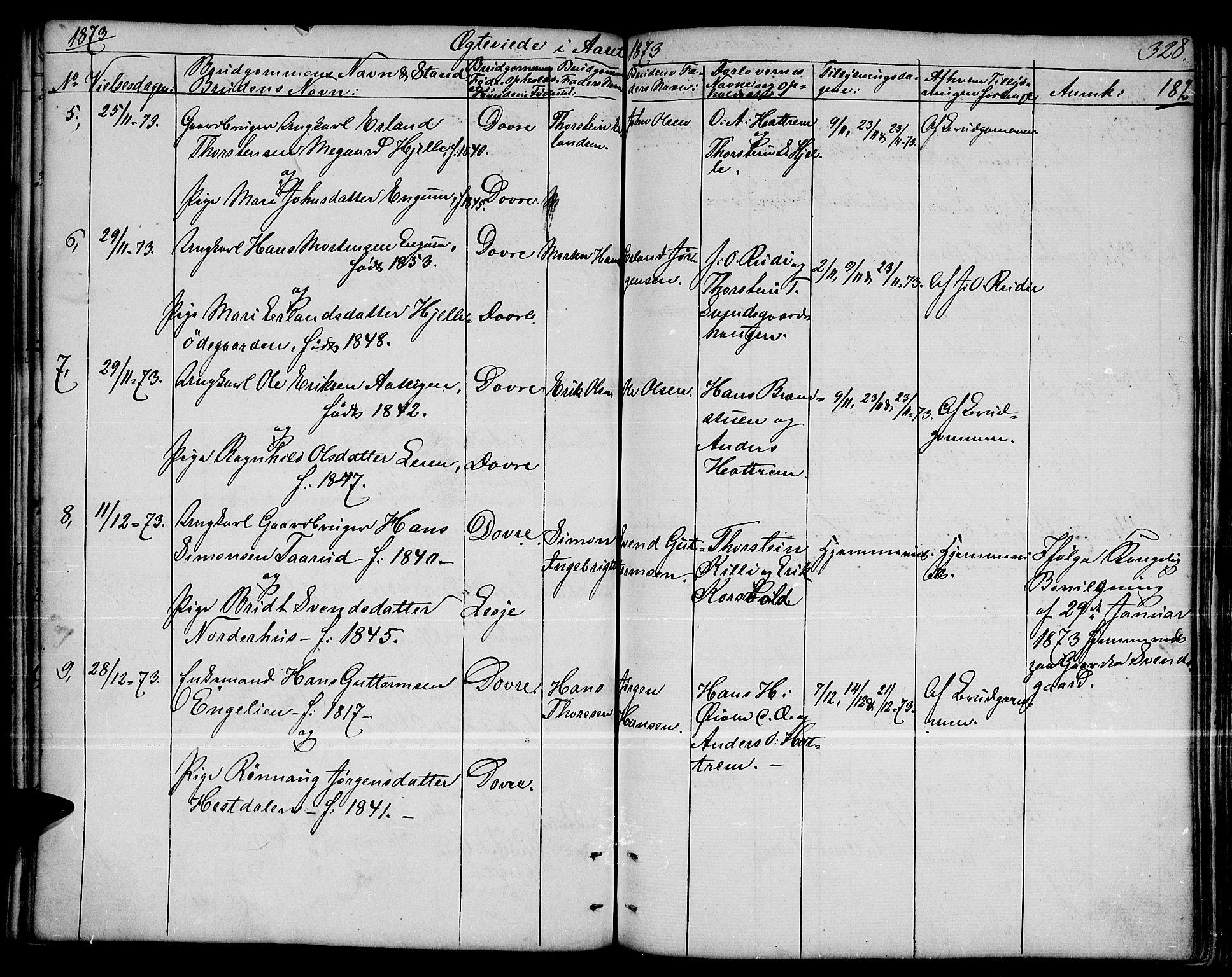 SAH, Dovre prestekontor, Parish register (copy) no. 1, 1862-1880, p. 328