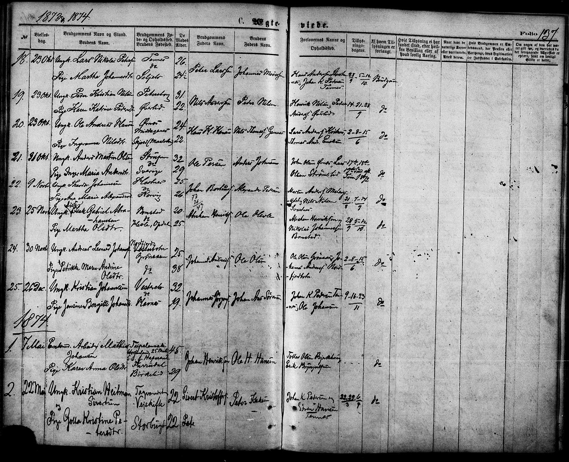 SATØ, Balsfjord sokneprestembete, Parish register (official) no. 4, 1871-1883, p. 137