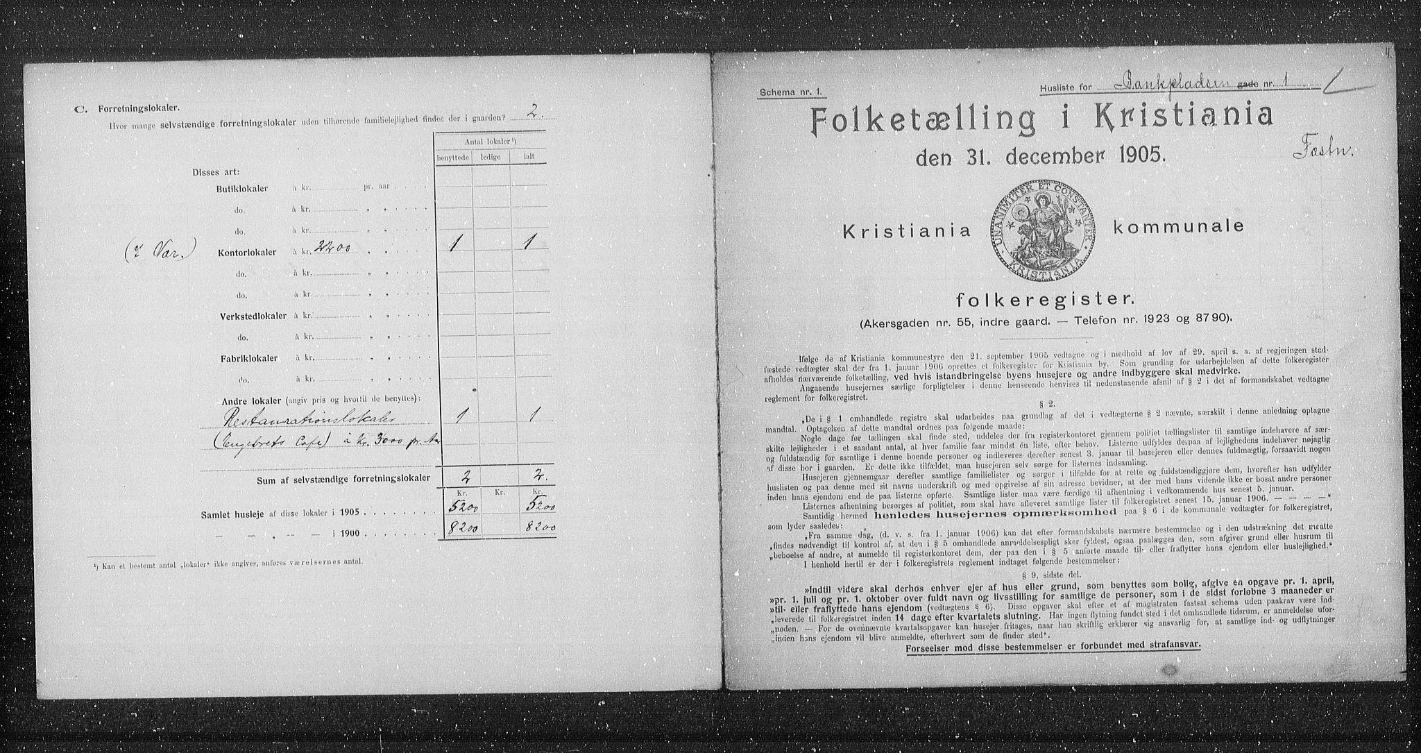 OBA, Municipal Census 1905 for Kristiania, 1905, p. 1700