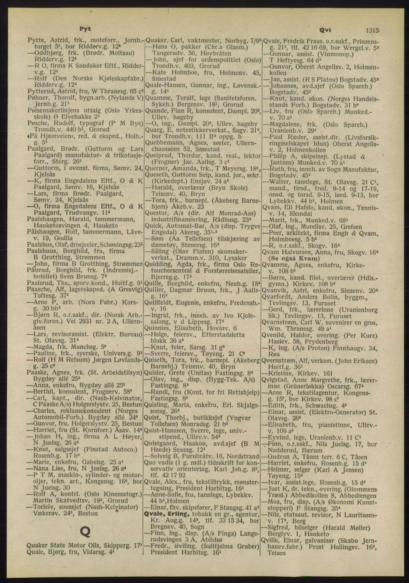 PUBL, Kristiania/Oslo adressebok, 1955, p. 1315