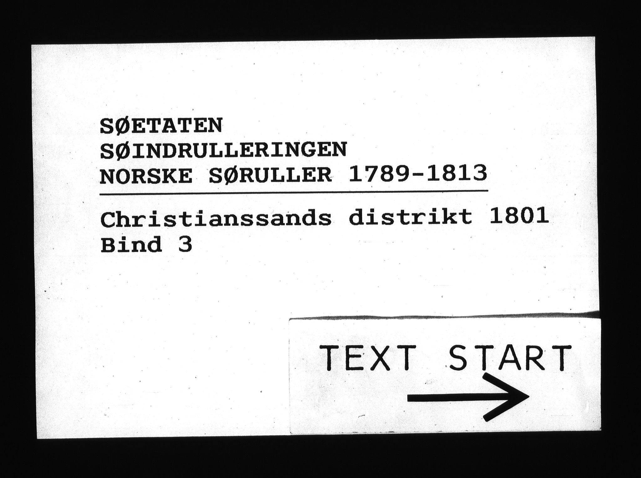 RA, Sjøetaten, F/L0044: Kristiansand distrikt, bind 3, 1801