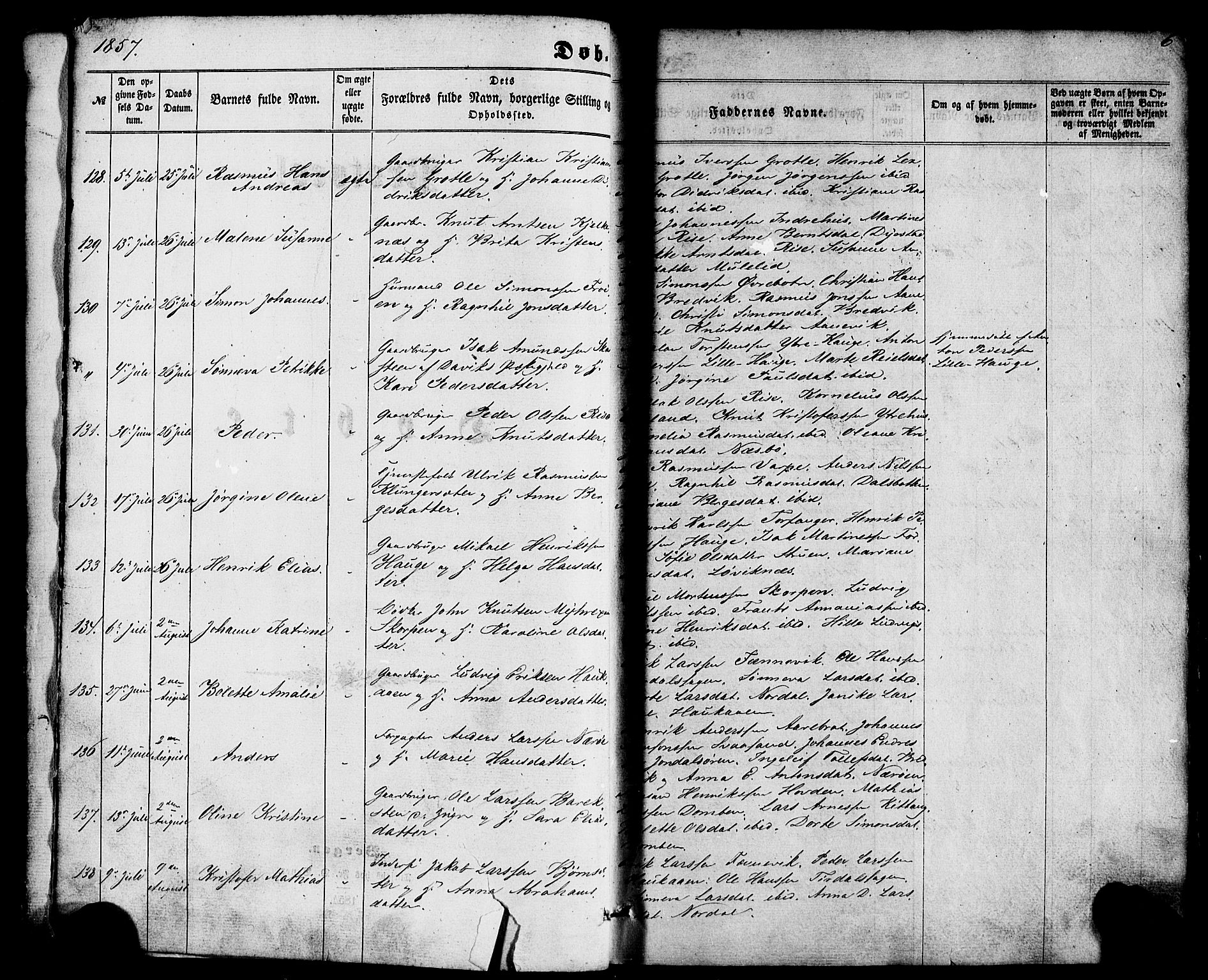 SAB, Kinn sokneprestembete, H/Haa/Haaa/L0006: Parish register (official) no. A 6, 1857-1885, p. 6
