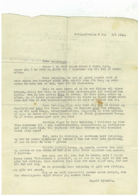 RA, Bjerkås, Ingrid, G/L0001: --, 1941-1942, p. 1