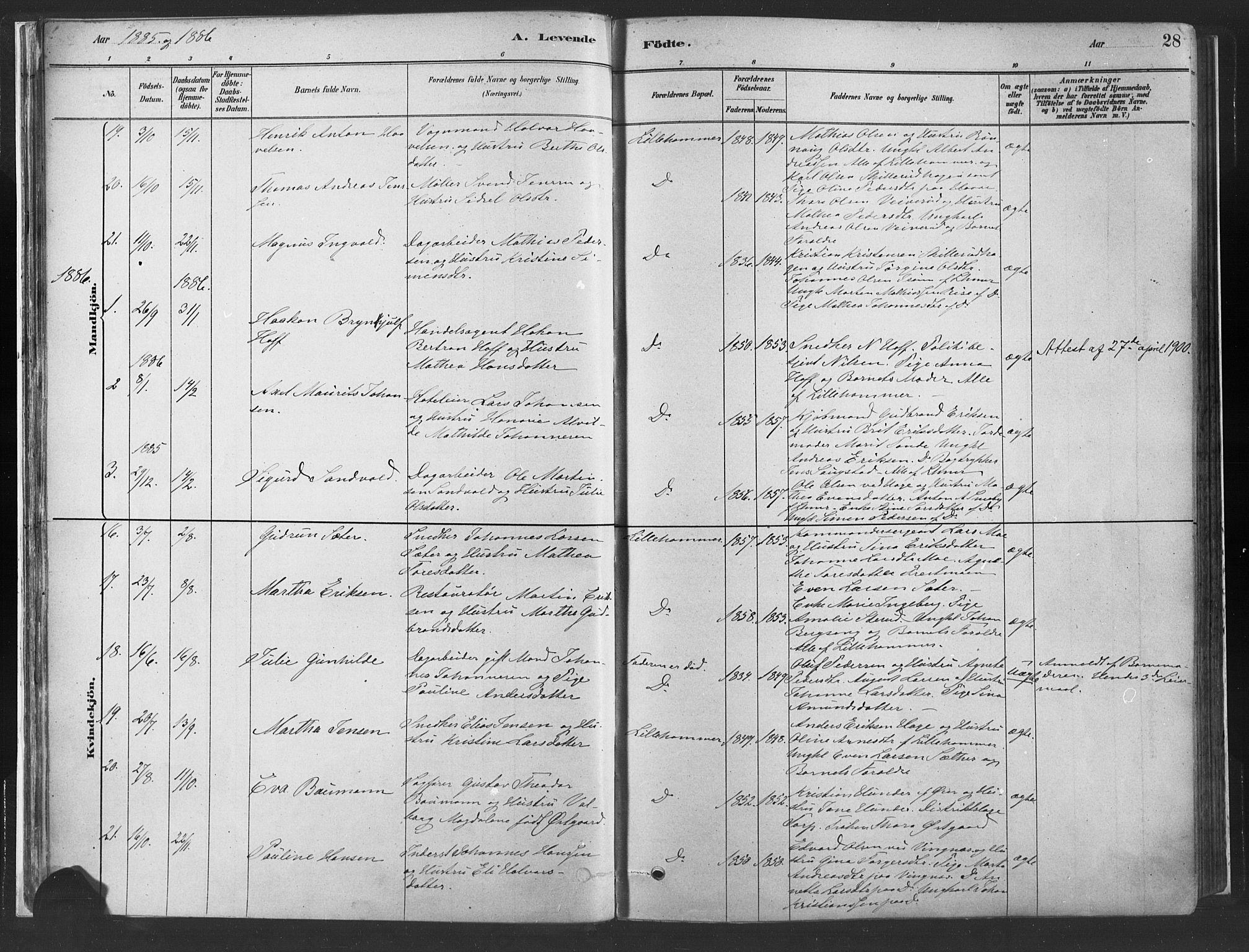 SAH, Fåberg prestekontor, H/Ha/Haa/L0010: Parish register (official) no. 10, 1879-1900, p. 28