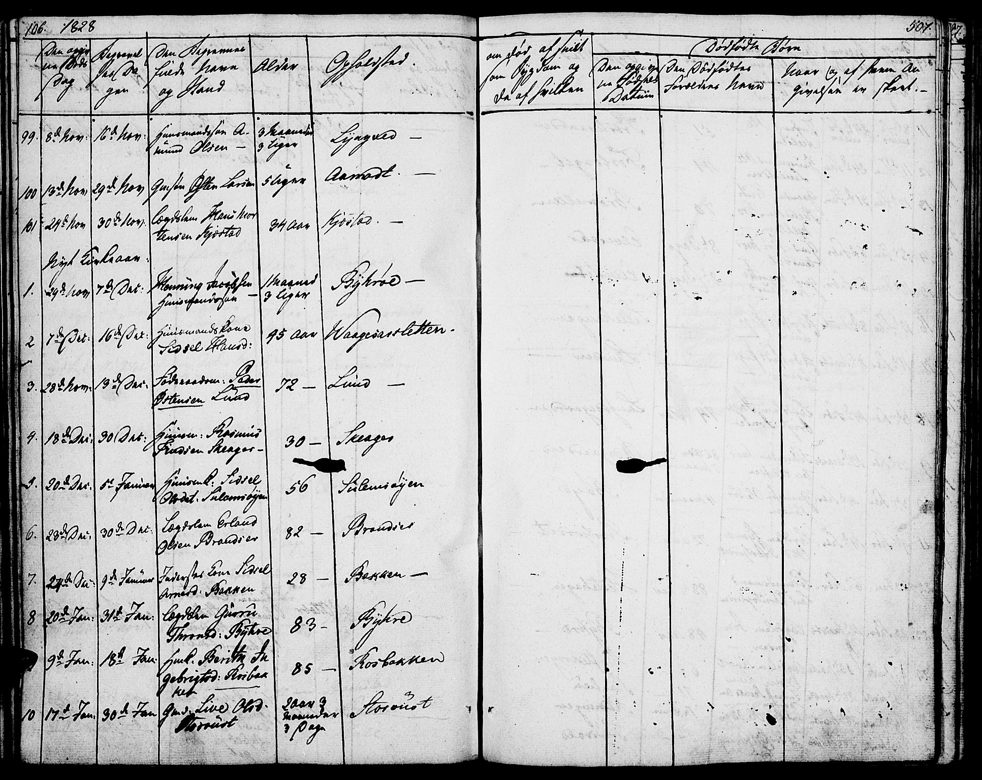SAH, Lom prestekontor, K/L0005: Parish register (official) no. 5, 1825-1837, p. 506-507