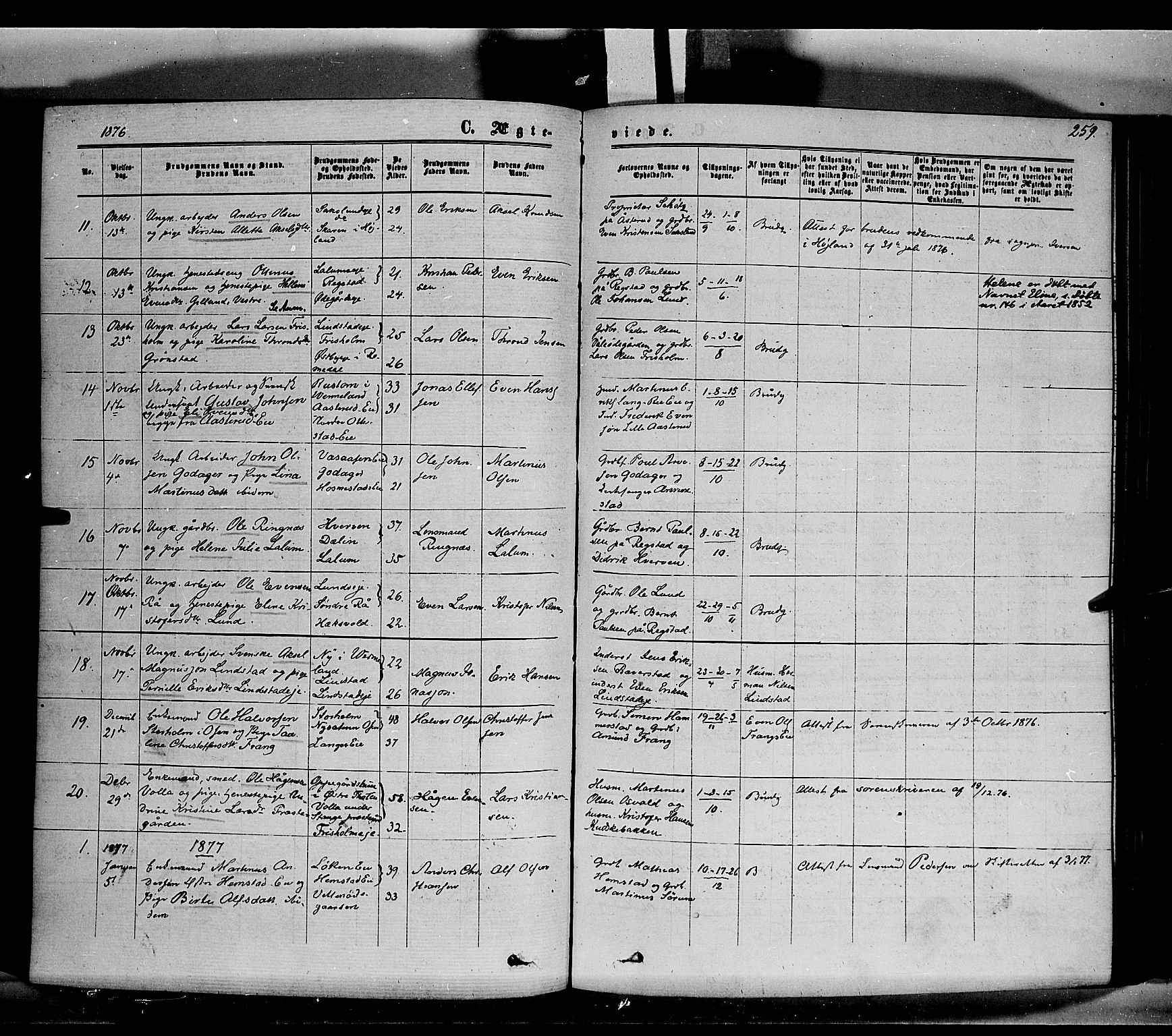 SAH, Stange prestekontor, K/L0013: Parish register (official) no. 13, 1862-1879, p. 259