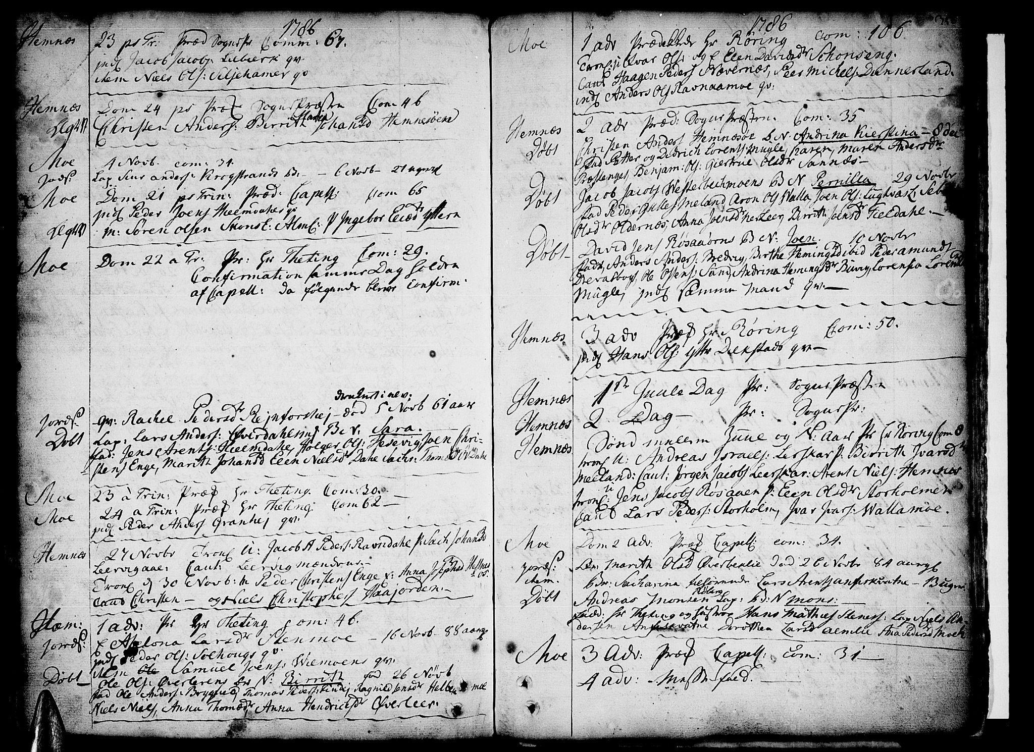 SAT, Ministerialprotokoller, klokkerbøker og fødselsregistre - Nordland, 825/L0348: Parish register (official) no. 825A04, 1752-1788, p. 356