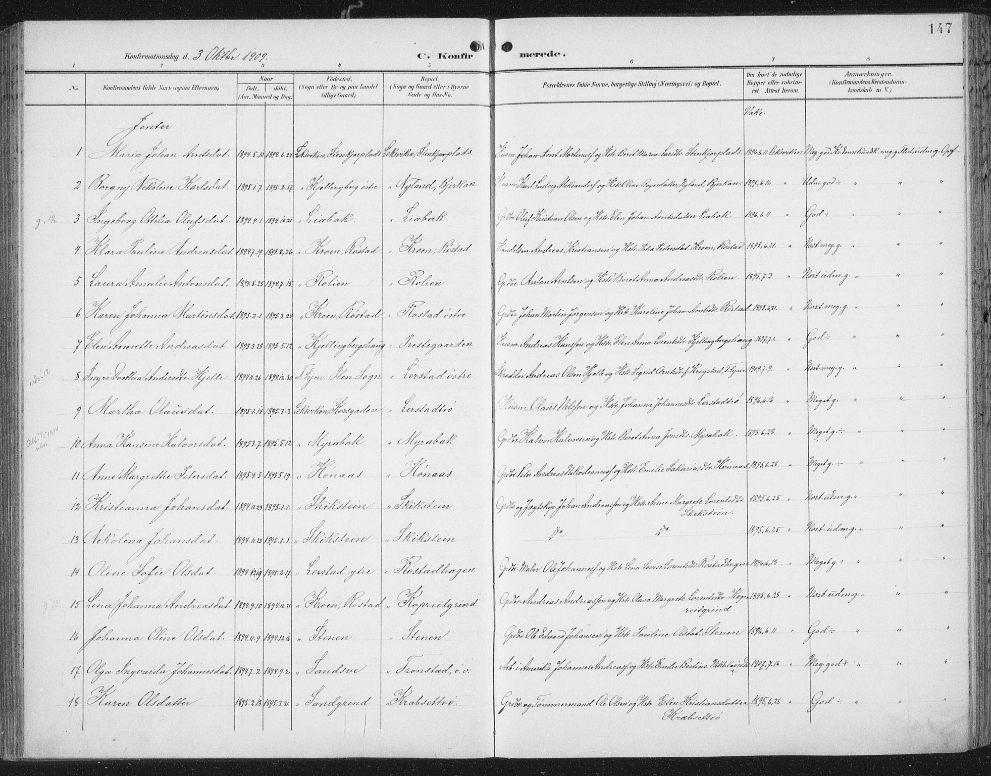 SAT, Ministerialprotokoller, klokkerbøker og fødselsregistre - Nord-Trøndelag, 701/L0011: Parish register (official) no. 701A11, 1899-1915, p. 147