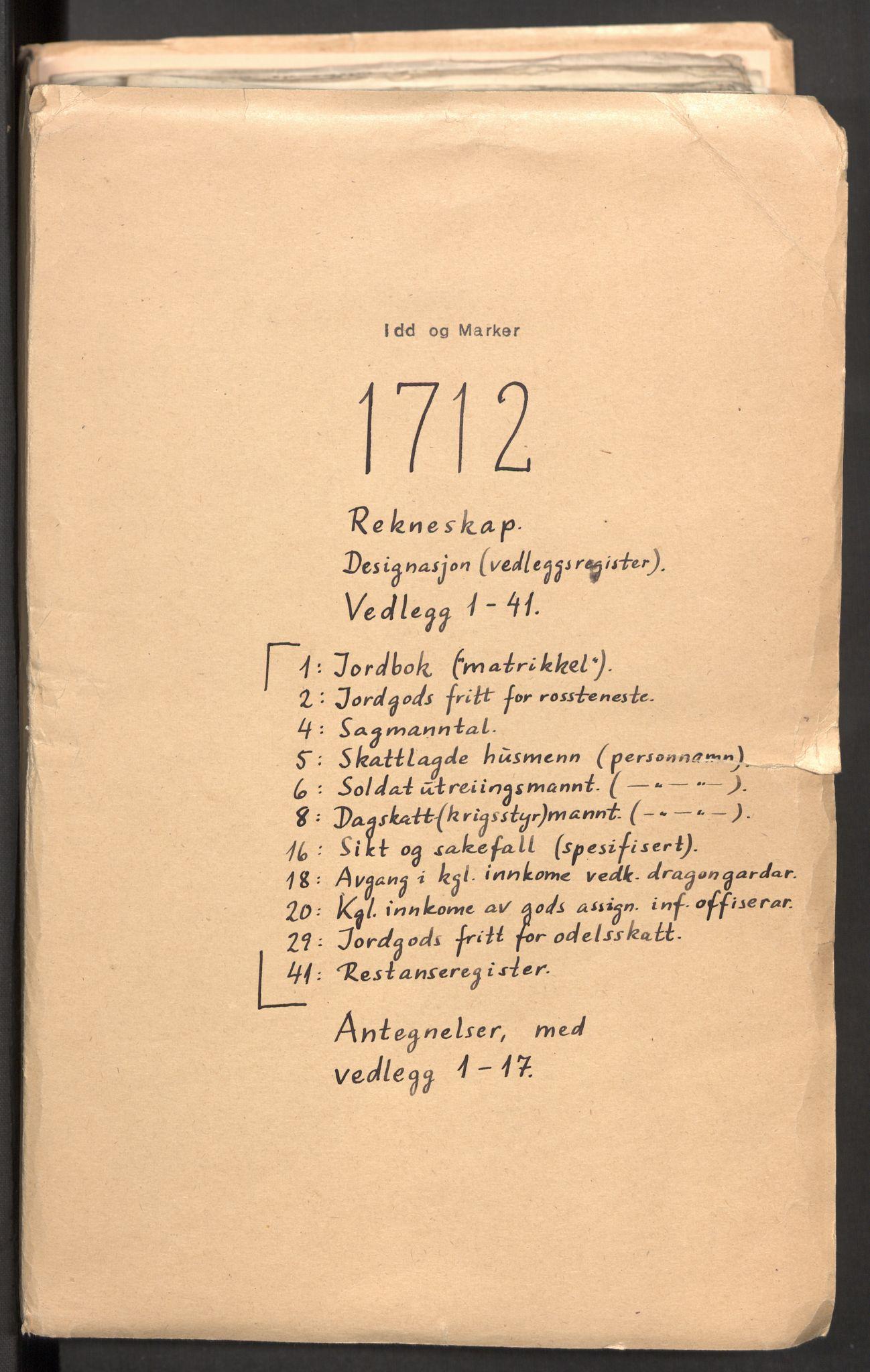 RA, Rentekammeret inntil 1814, Reviderte regnskaper, Fogderegnskap, R01/L0021: Fogderegnskap Idd og Marker, 1712, p. 2