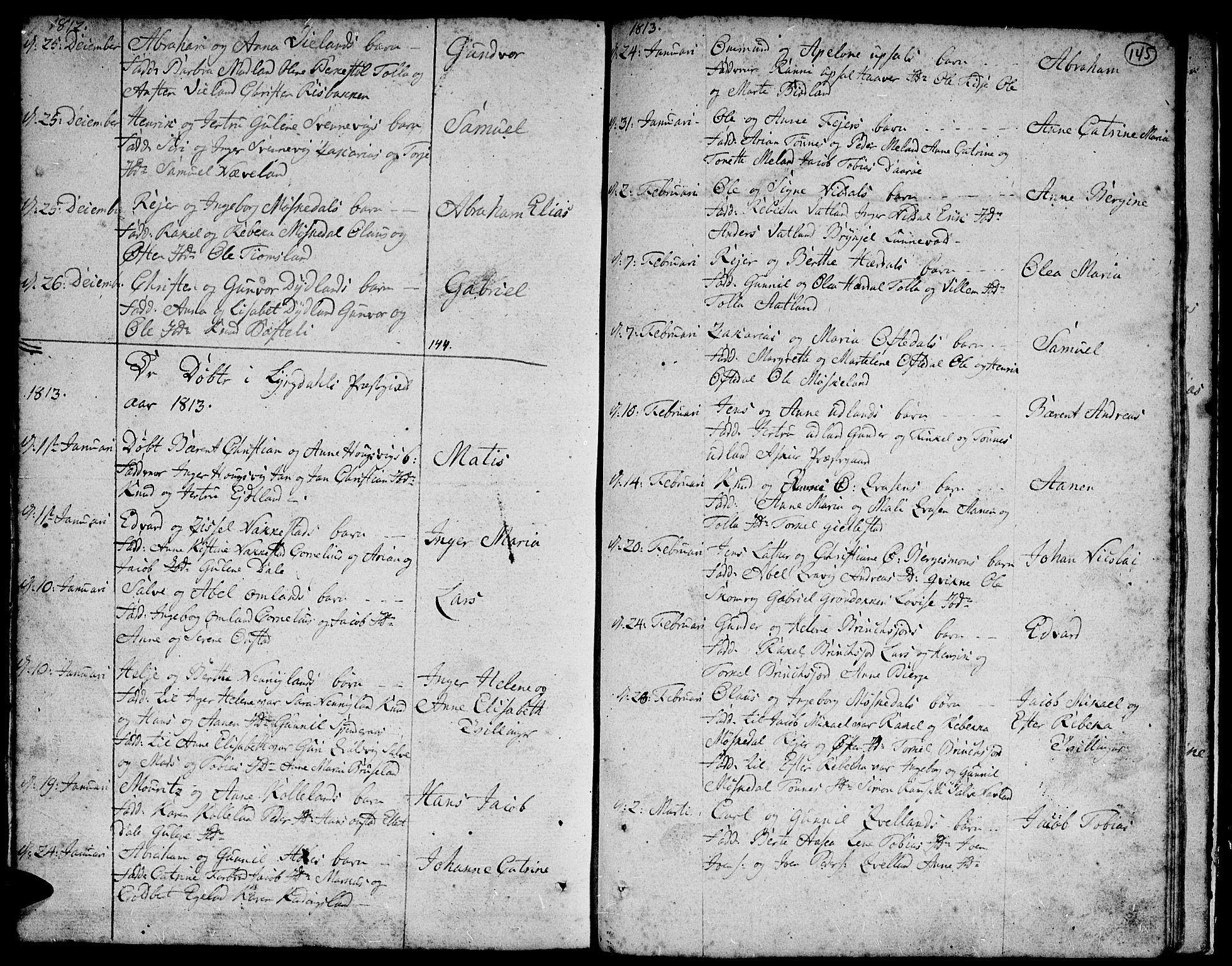 SAK, Lyngdal sokneprestkontor, F/Fa/Fac/L0004: Parish register (official) no. A 4, 1780-1815, p. 145