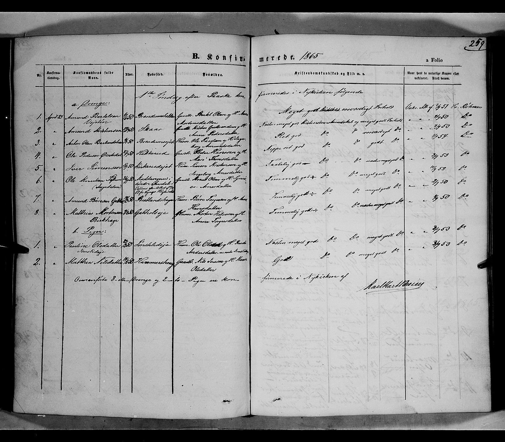 SAH, Gausdal prestekontor, Parish register (official) no. 9, 1862-1873, p. 259