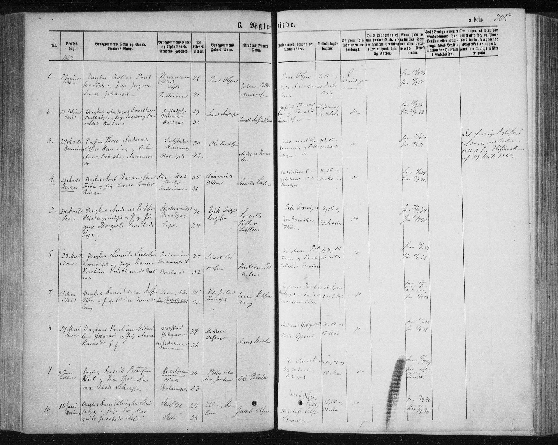 SAT, Ministerialprotokoller, klokkerbøker og fødselsregistre - Nord-Trøndelag, 735/L0345: Parish register (official) no. 735A08 /1, 1863-1872, p. 225