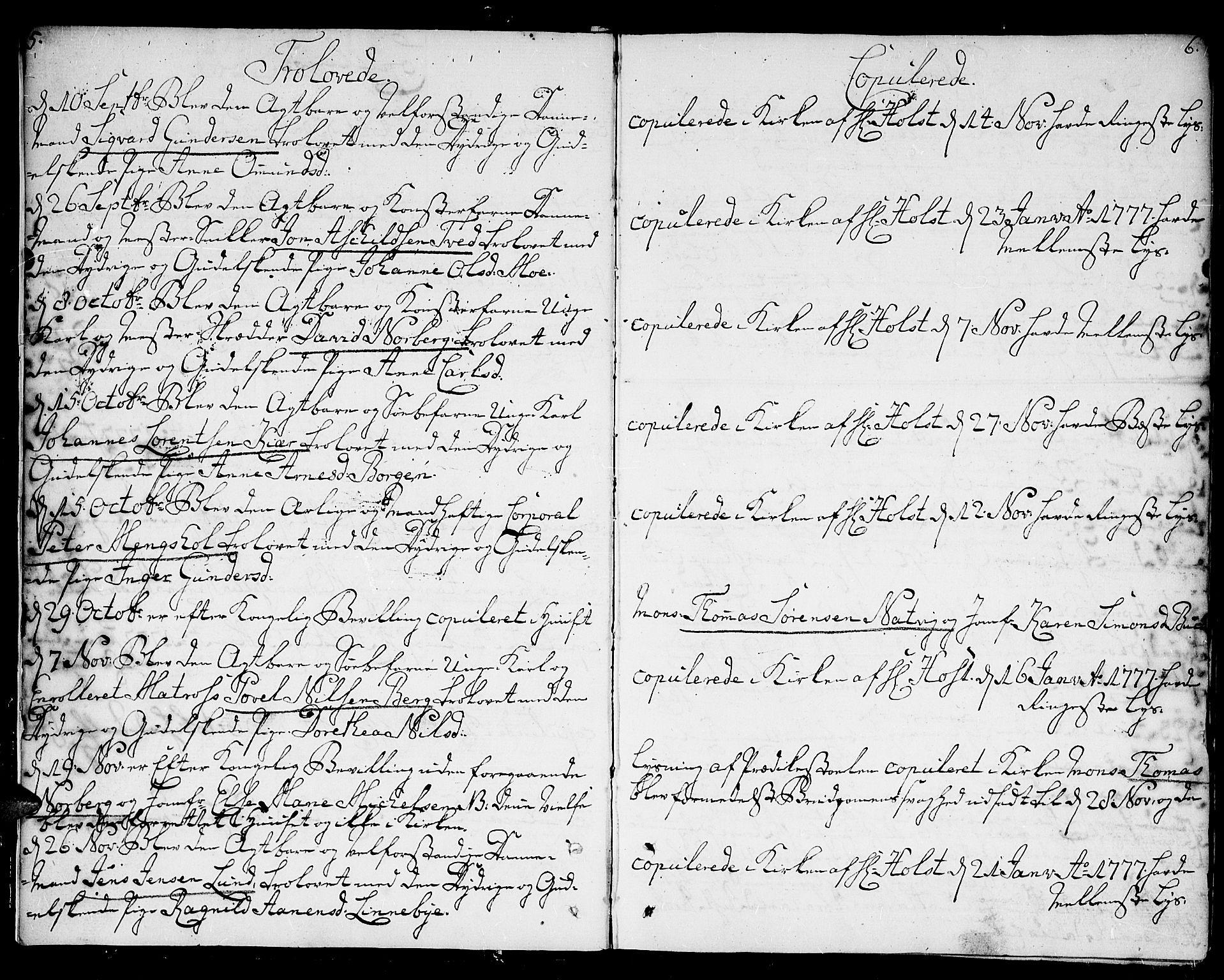 SAK, Kristiansand domprosti, F/Fa/L0005: Parish register (official) no. A 5, 1776-1818, p. 5-6