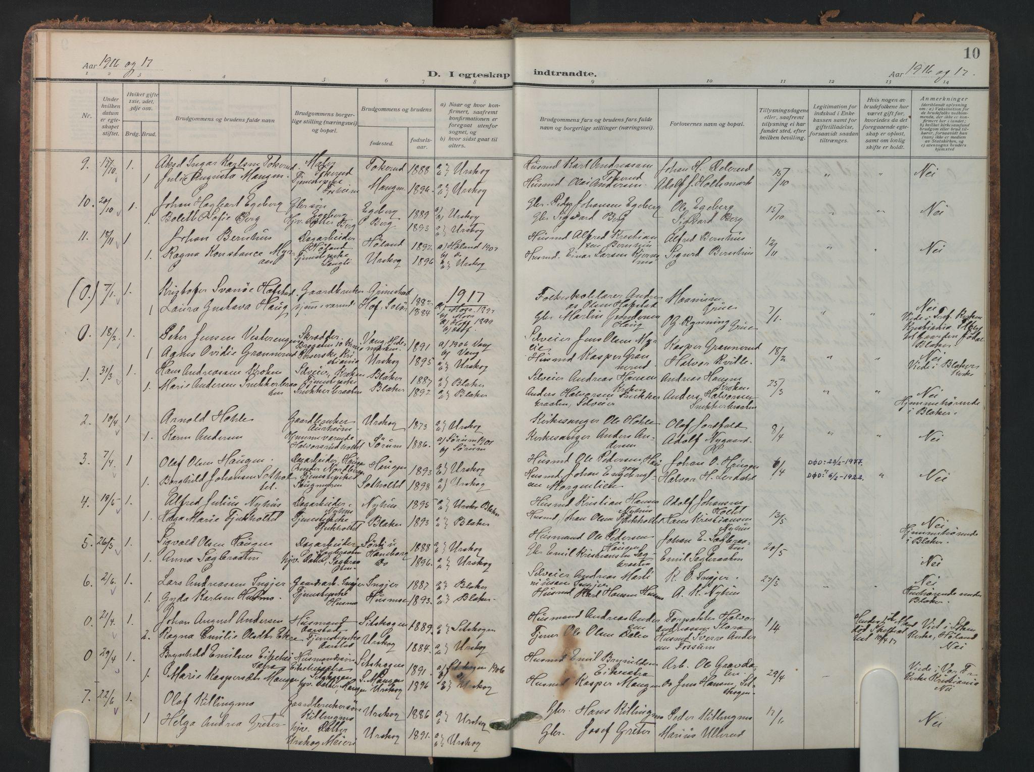 SAO, Aurskog prestekontor Kirkebøker, F/Fa/L0016: Parish register (official) no. I 16, 1910-1934, p. 10