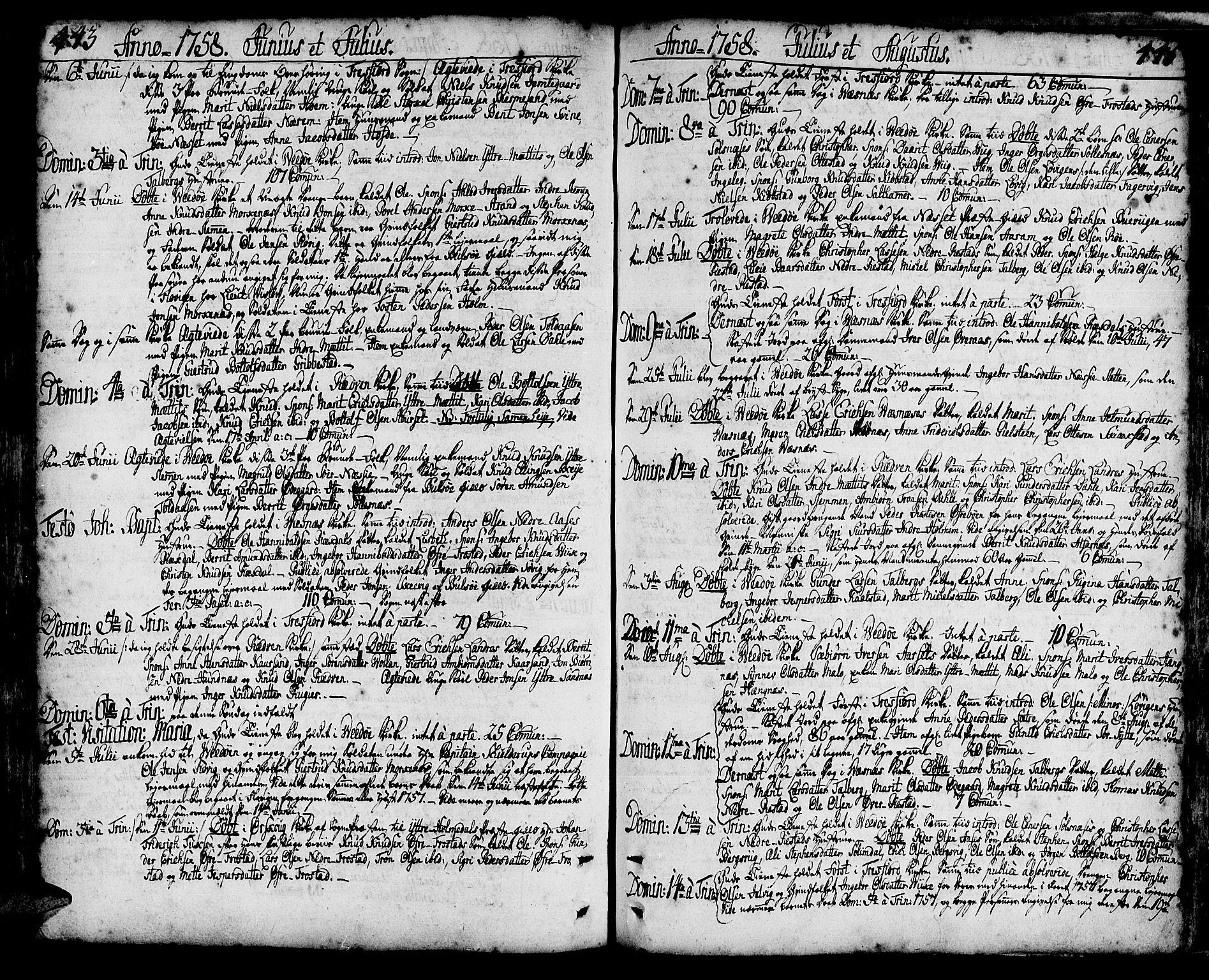 SAT, Ministerialprotokoller, klokkerbøker og fødselsregistre - Møre og Romsdal, 547/L0599: Parish register (official) no. 547A01, 1721-1764, p. 443 og 445