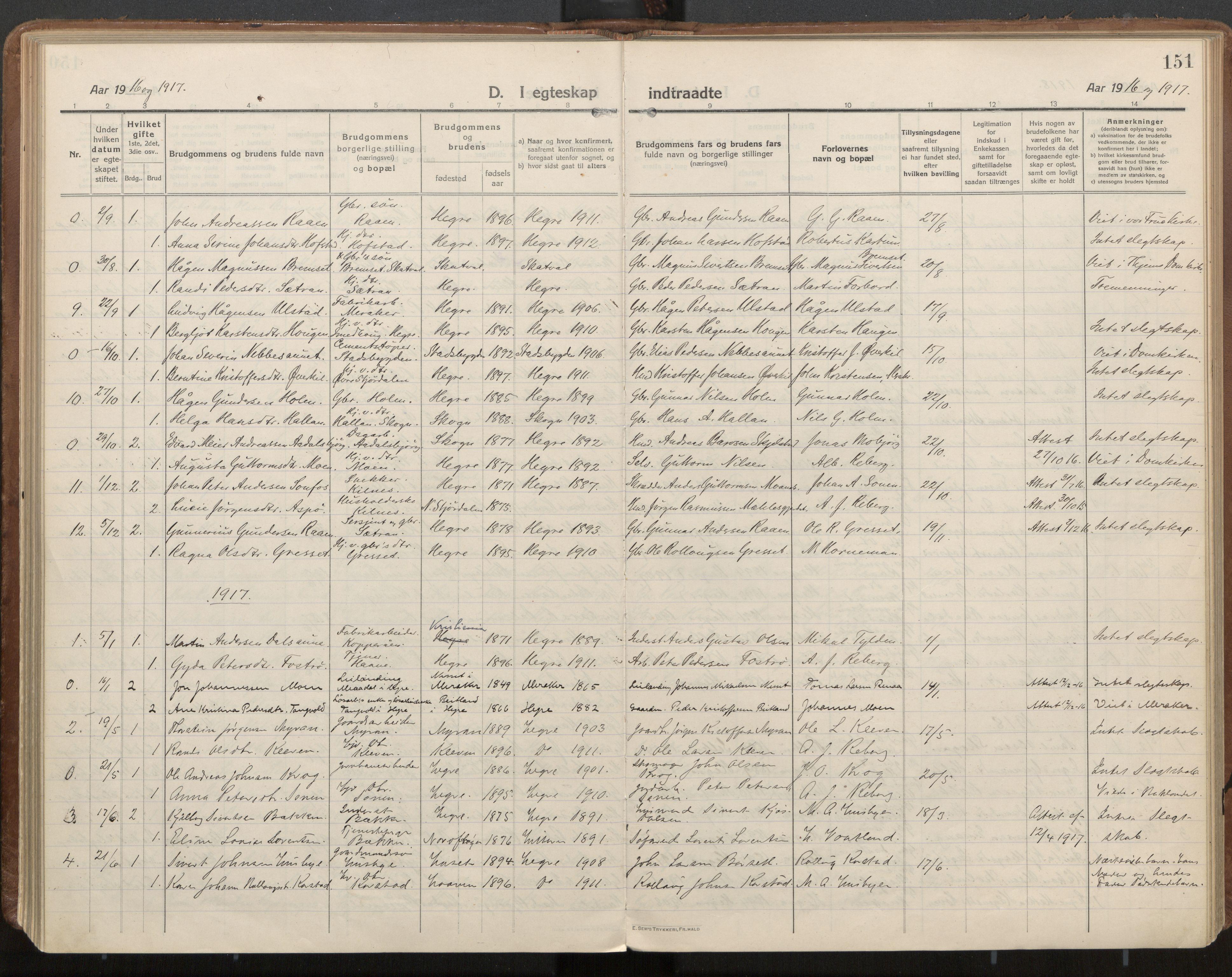 SAT, Ministerialprotokoller, klokkerbøker og fødselsregistre - Nord-Trøndelag, 703/L0037: Parish register (official) no. 703A10, 1915-1932, p. 151