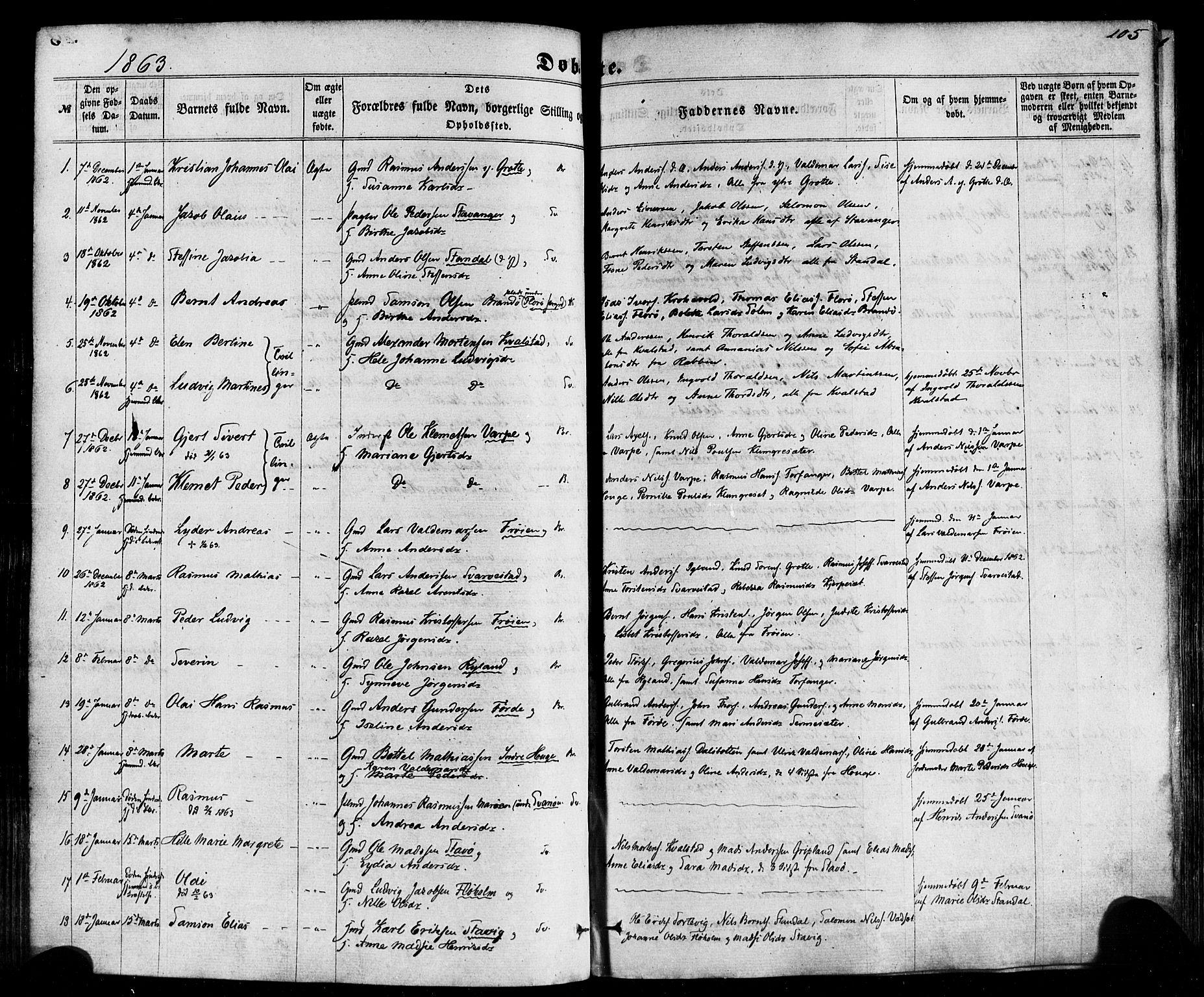 SAB, Kinn sokneprestembete, H/Haa/Haaa/L0006: Parish register (official) no. A 6, 1857-1885, p. 105