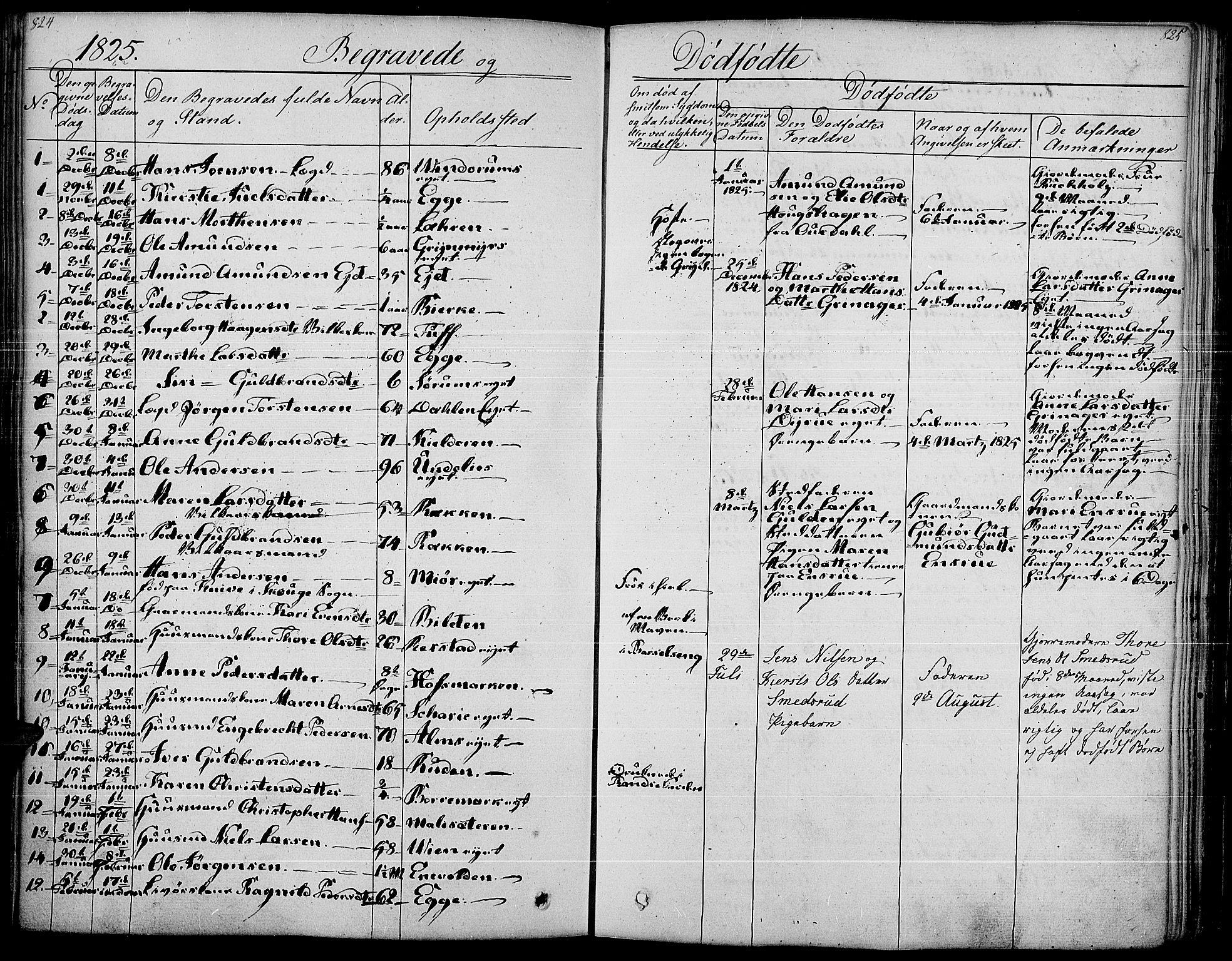 SAH, Gran prestekontor, Parish register (official) no. 10, 1824-1842, p. 824-825
