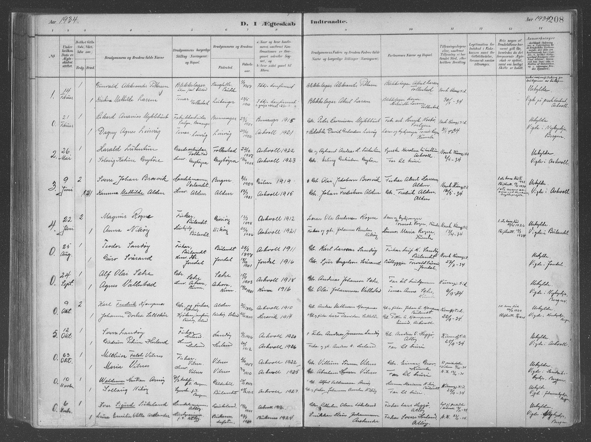 SAB, Askvoll Sokneprestembete, Parish register (official) no. C  1, 1879-1922, p. 208