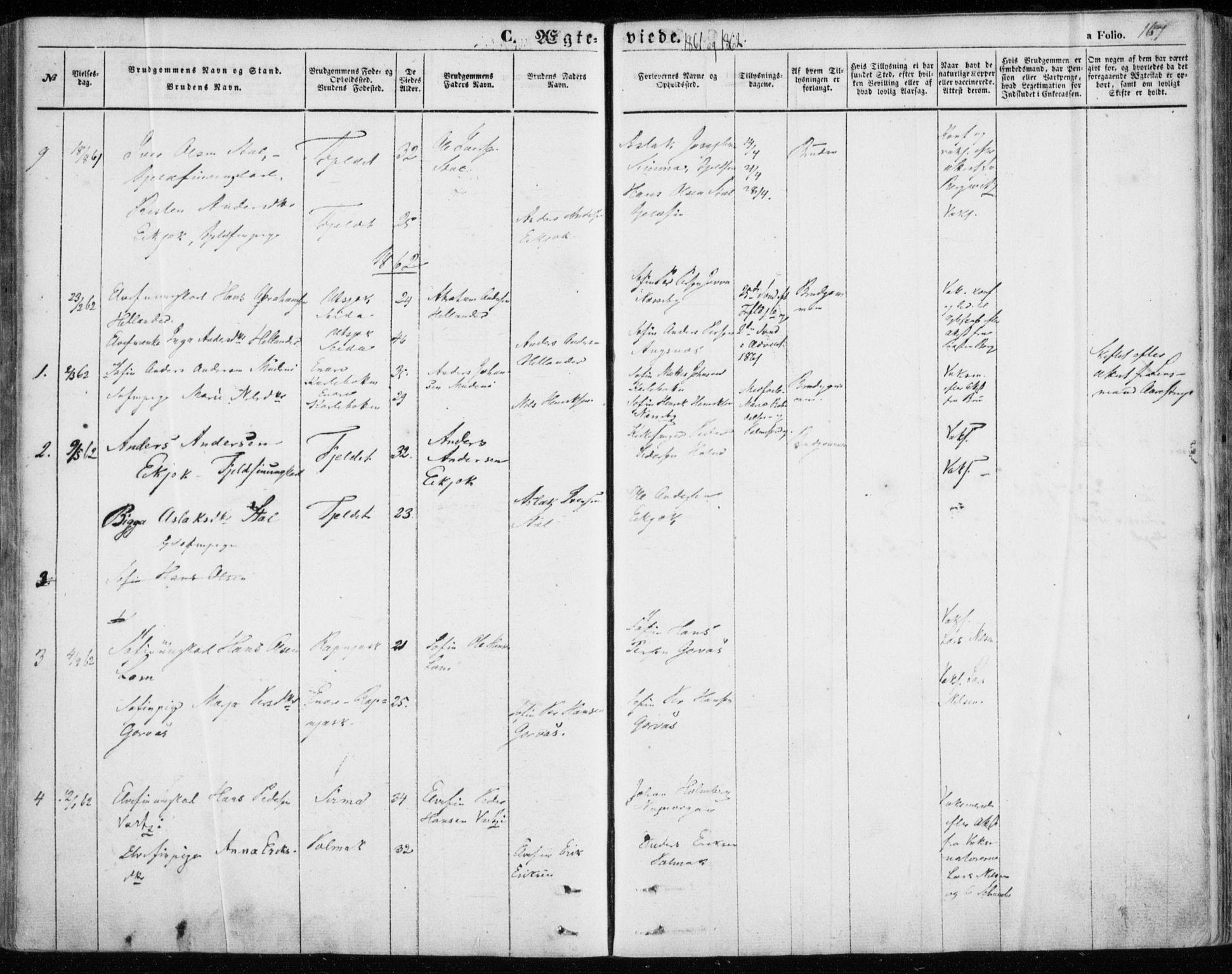 SATØ, Nesseby sokneprestkontor, H/Ha/L0002kirke: Parish register (official) no. 2, 1856-1864, p. 167