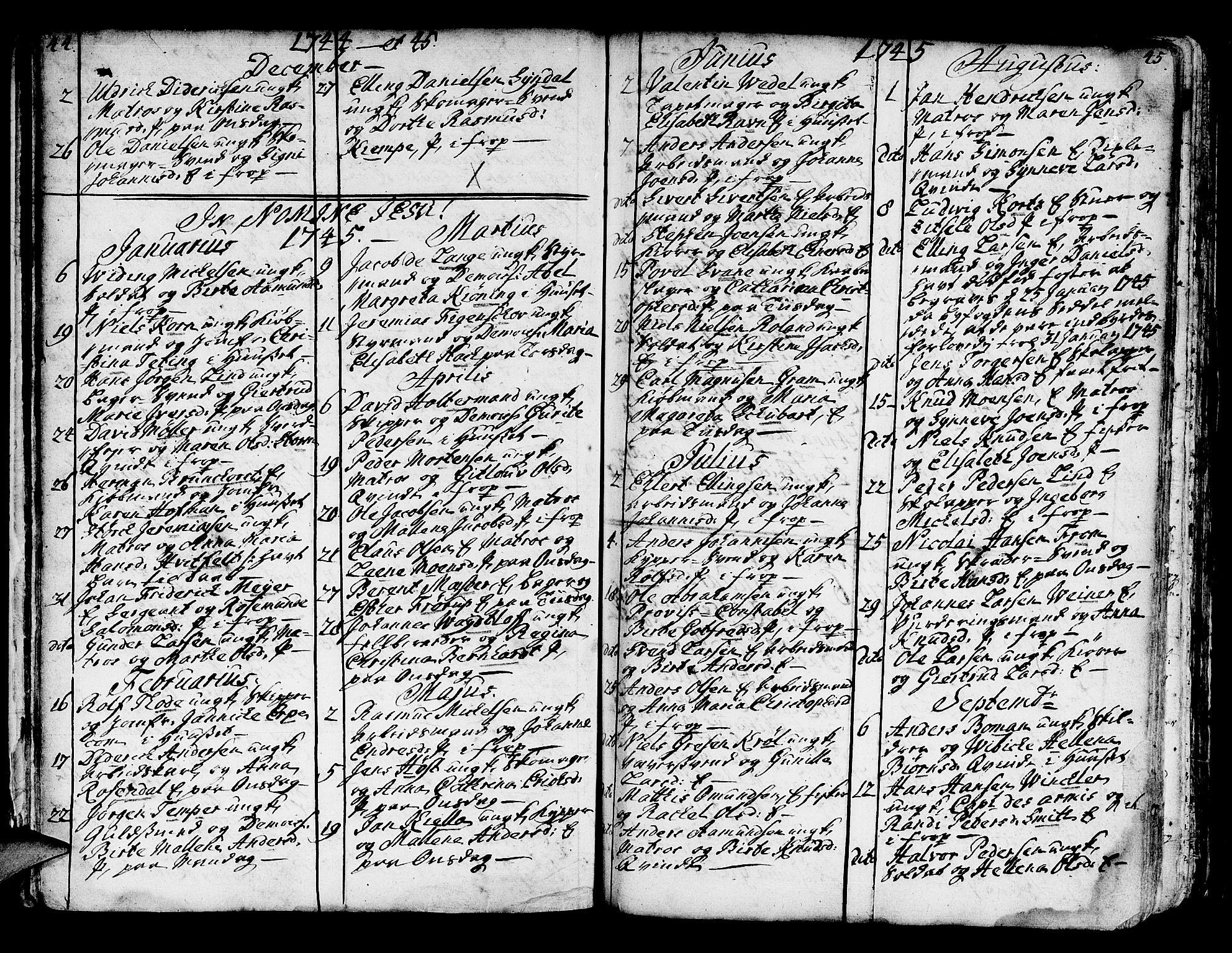 SAB, Domkirken sokneprestembete, H/Haa/L0007: Parish register (official) no. A 7, 1725-1826, p. 44-45