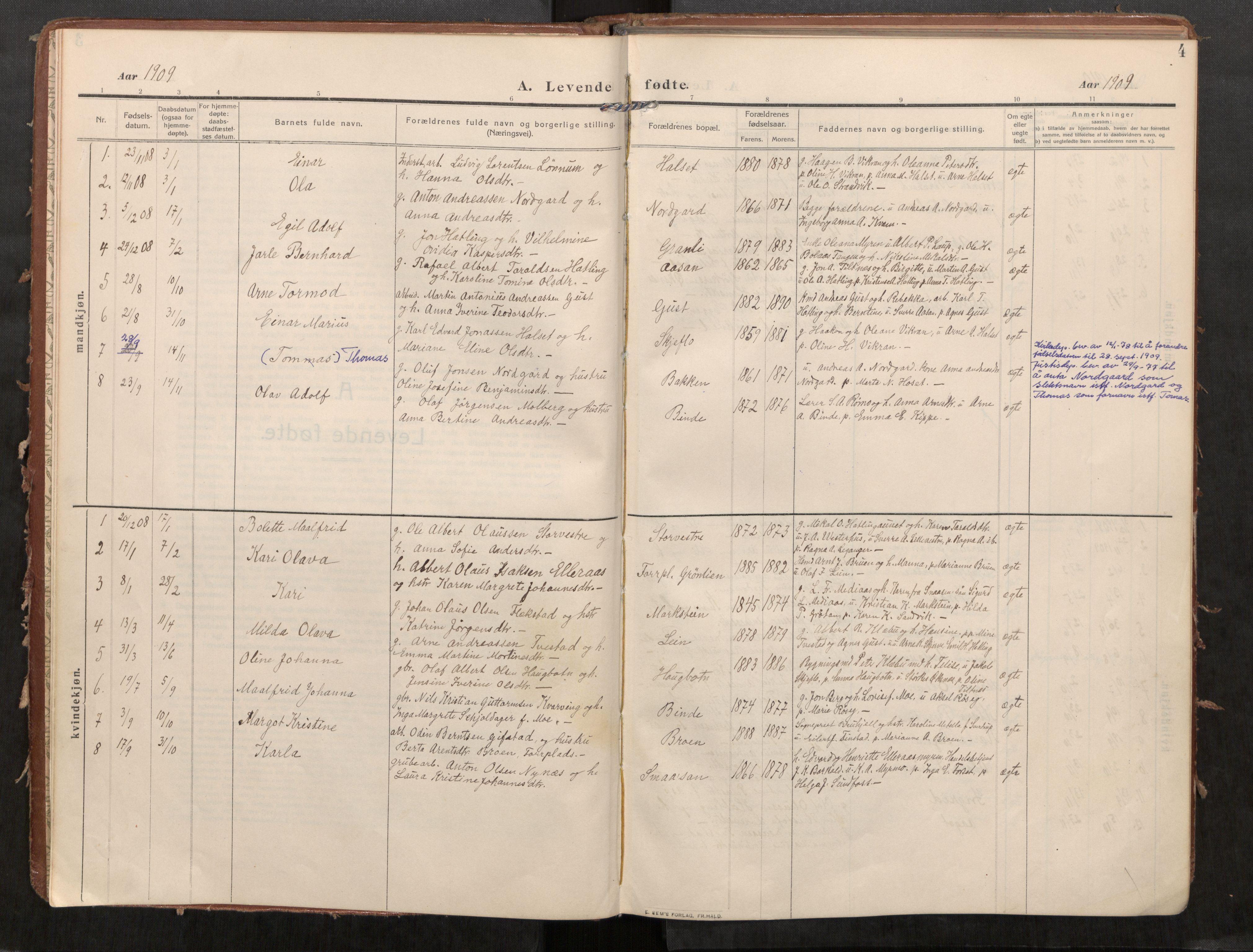 SAT, Stod sokneprestkontor, I/I1/I1a/L0002: Parish register (official) no. 2, 1909-1922, p. 4