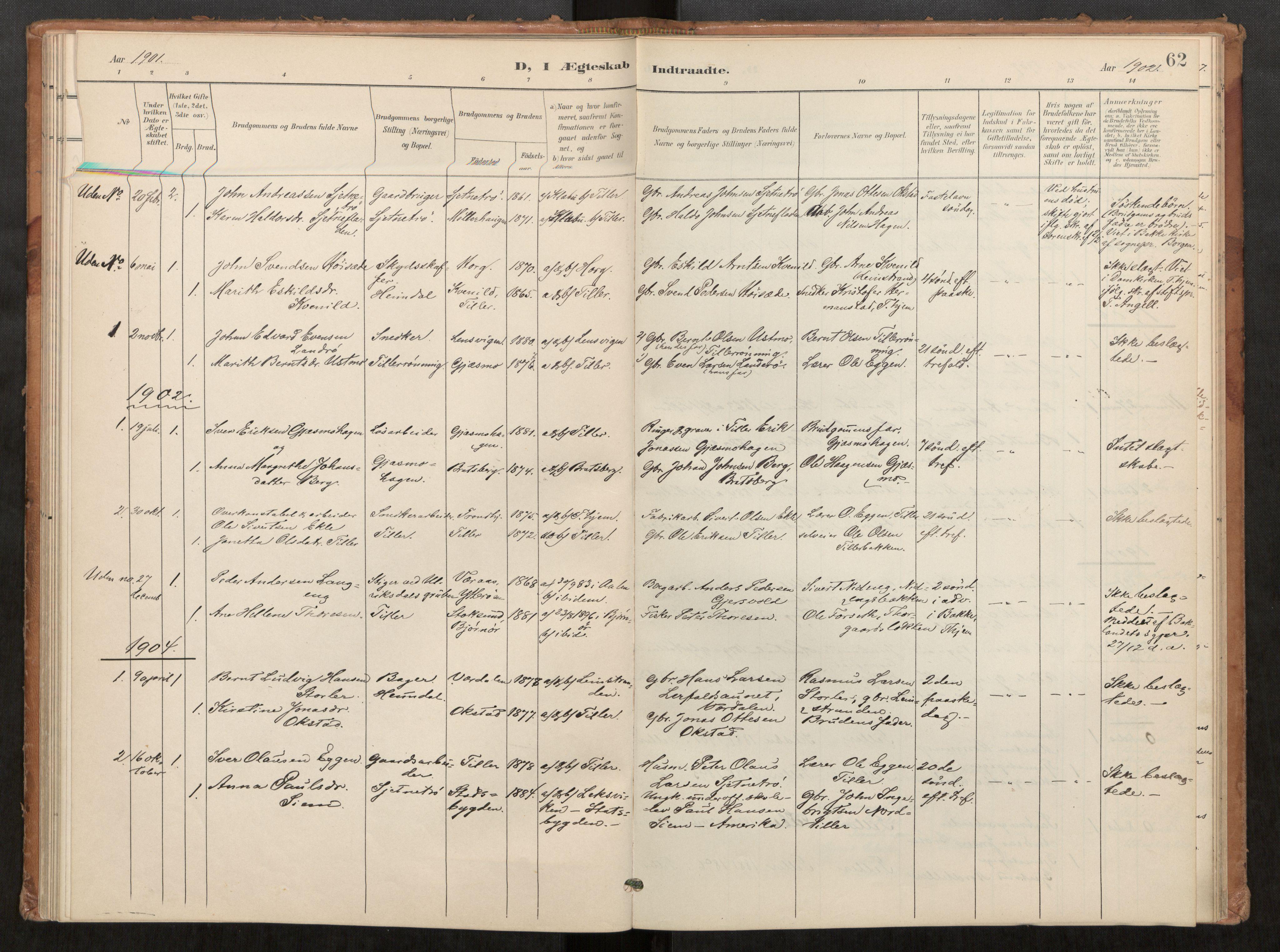 SAT, Klæbu sokneprestkontor, Parish register (official) no. 2, 1900-1916, p. 62