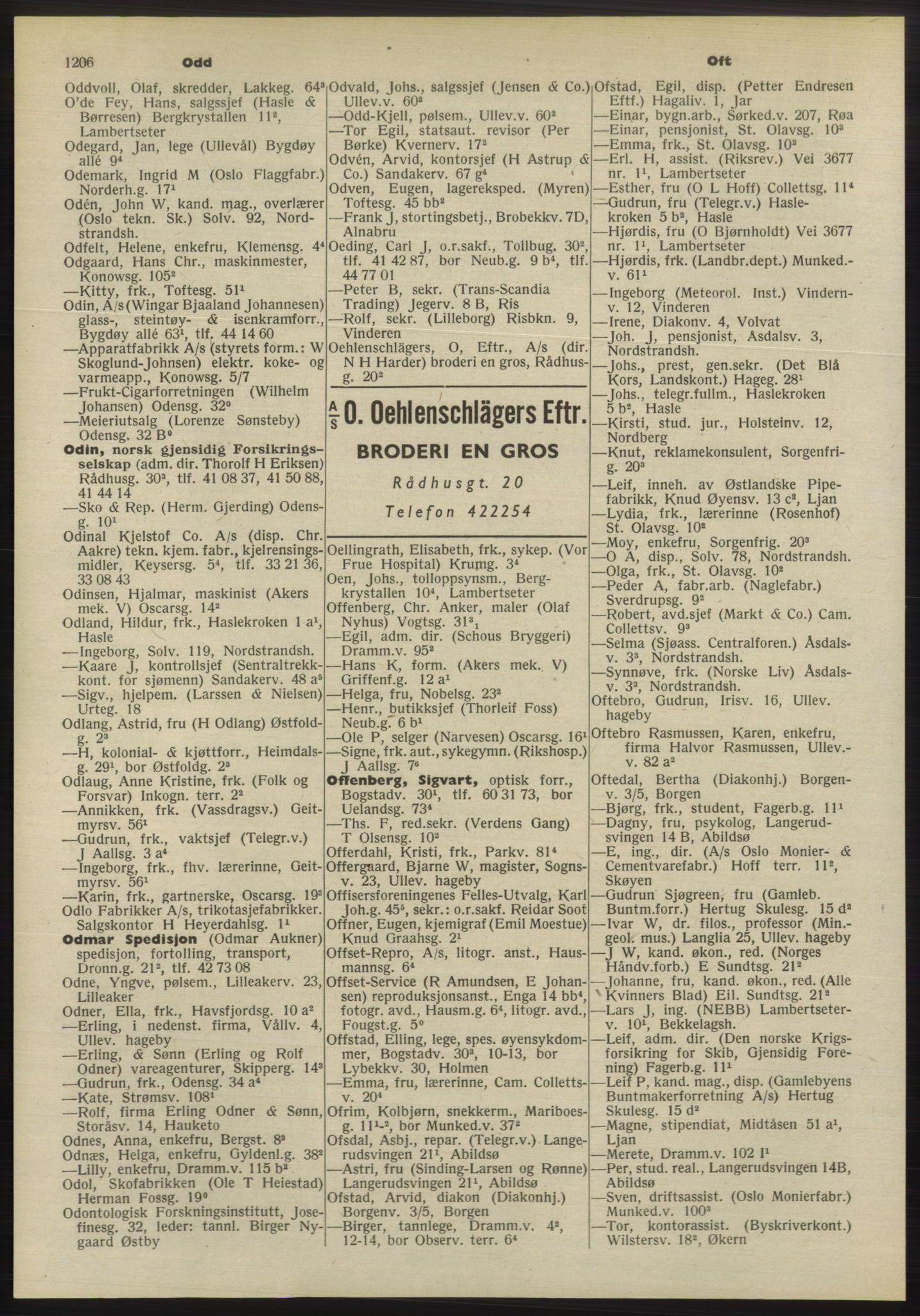 PUBL, Kristiania/Oslo adressebok, 1955, p. 1206