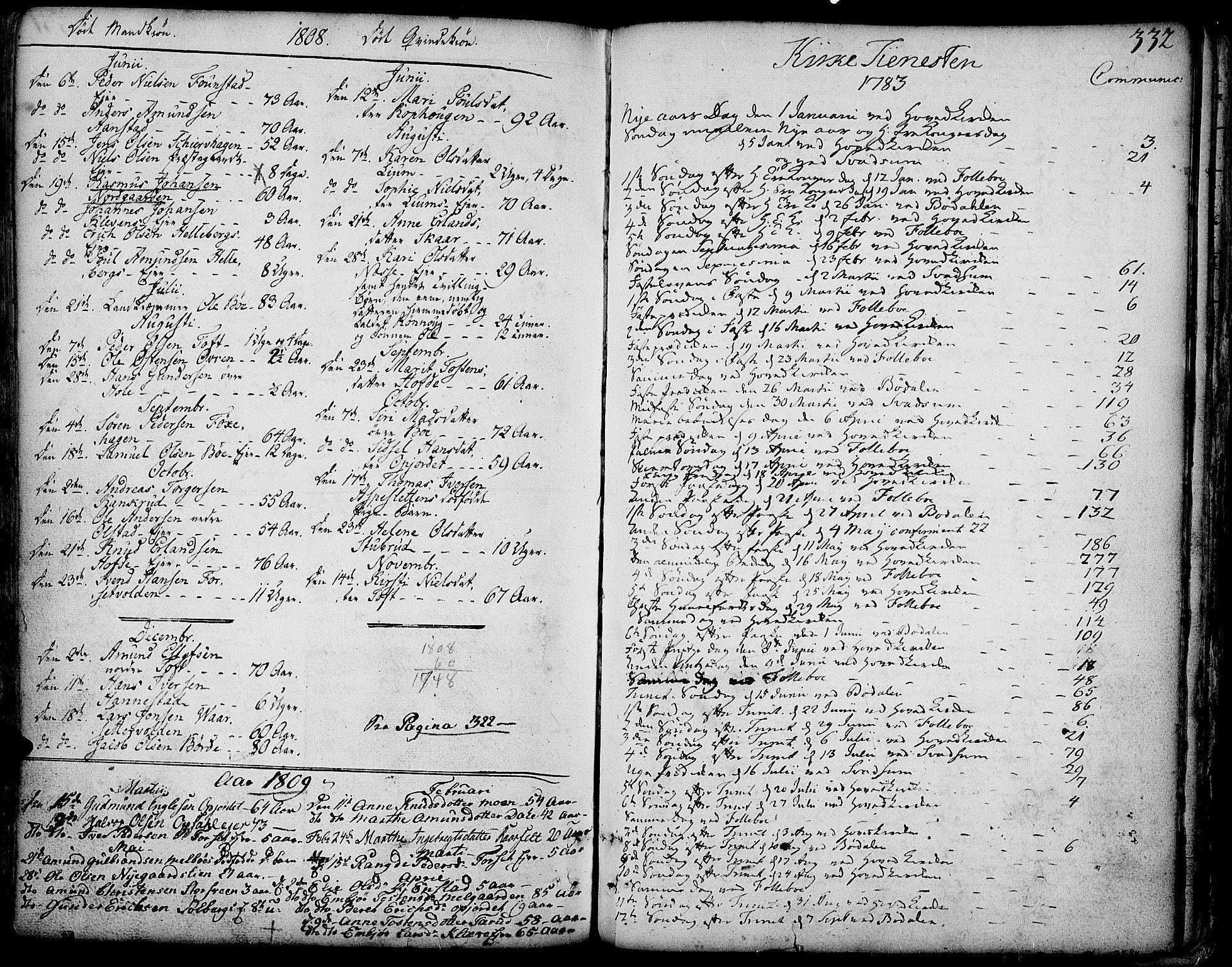 SAH, Gausdal prestekontor, Parish register (official) no. 3, 1758-1809, p. 332