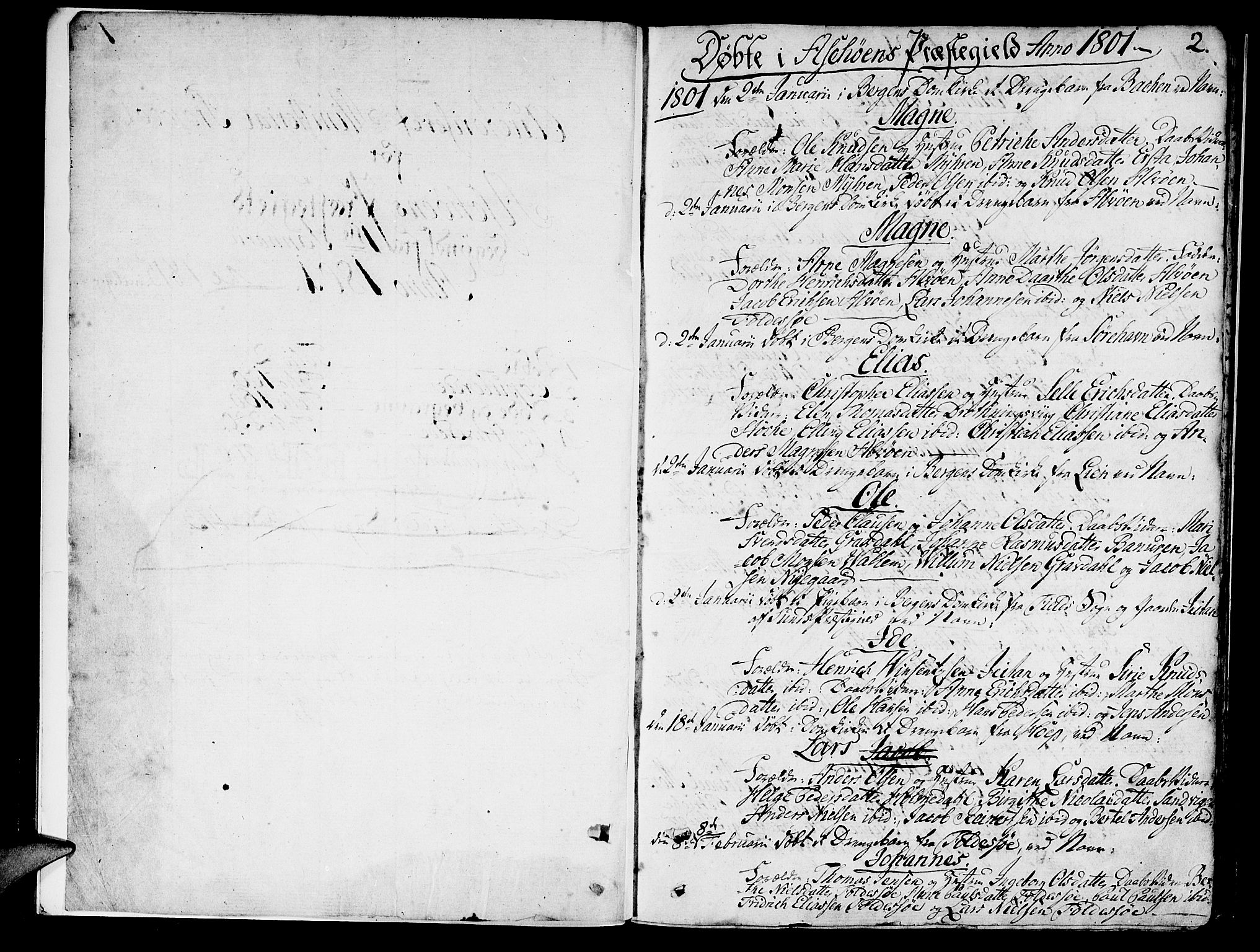 SAB, Askøy Sokneprestembete, H/Ha/Haa/Haaa/L0002: Parish register (official) no. A 2, 1801-1818, p. 2