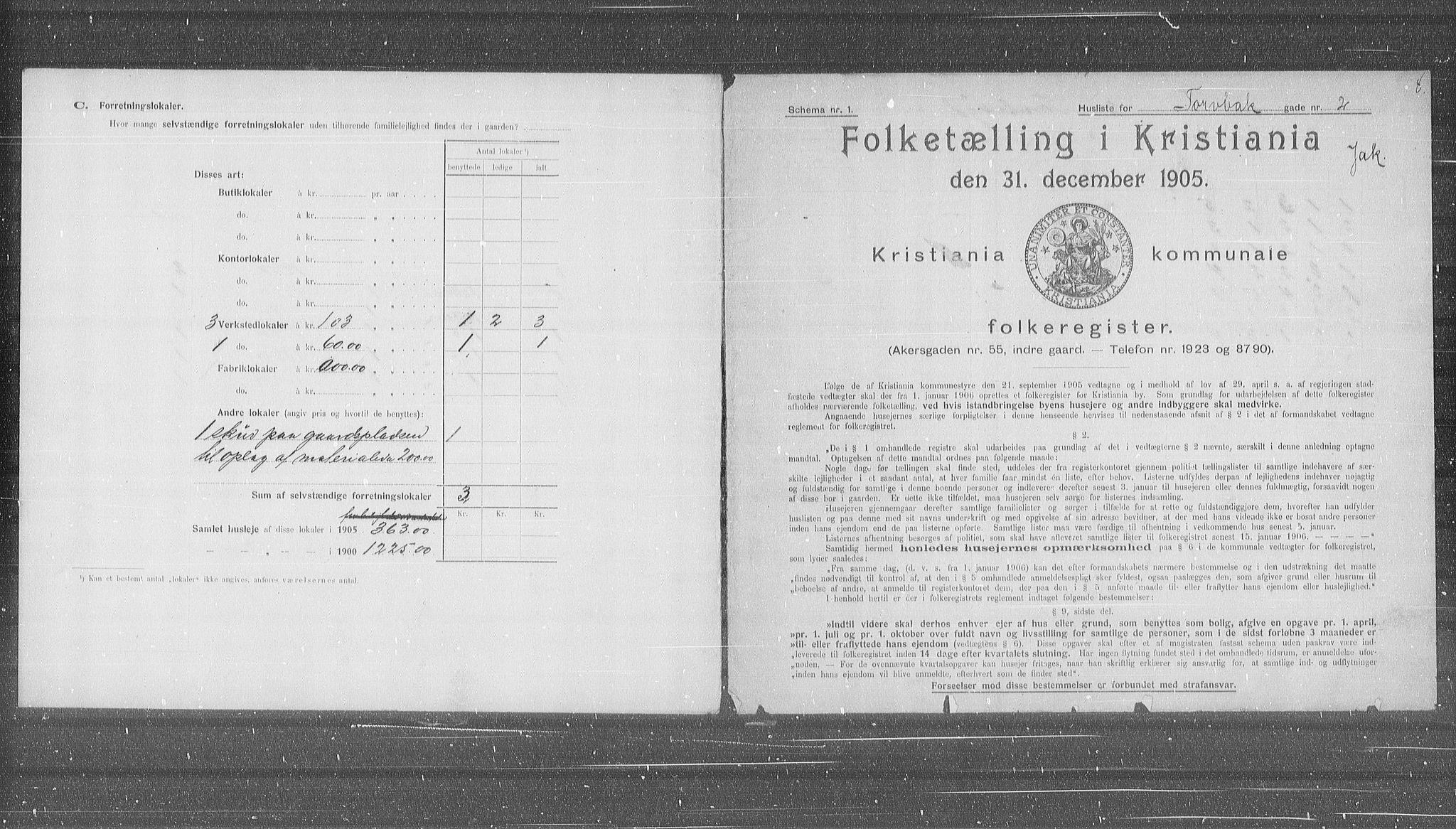 OBA, Municipal Census 1905 for Kristiania, 1905, p. 60151