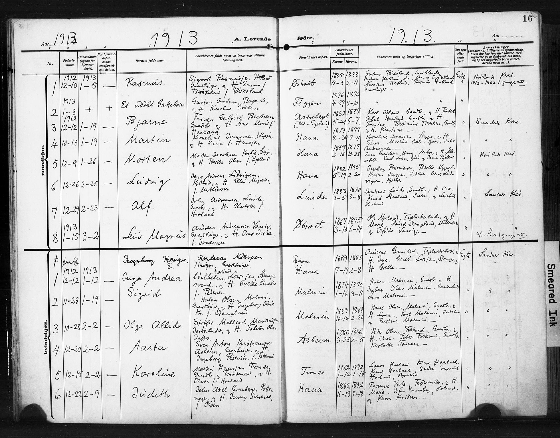 SAST, Høyland sokneprestkontor, 30BA/L0017: Parish register (official) no. A 15, 1912-1924, p. 16