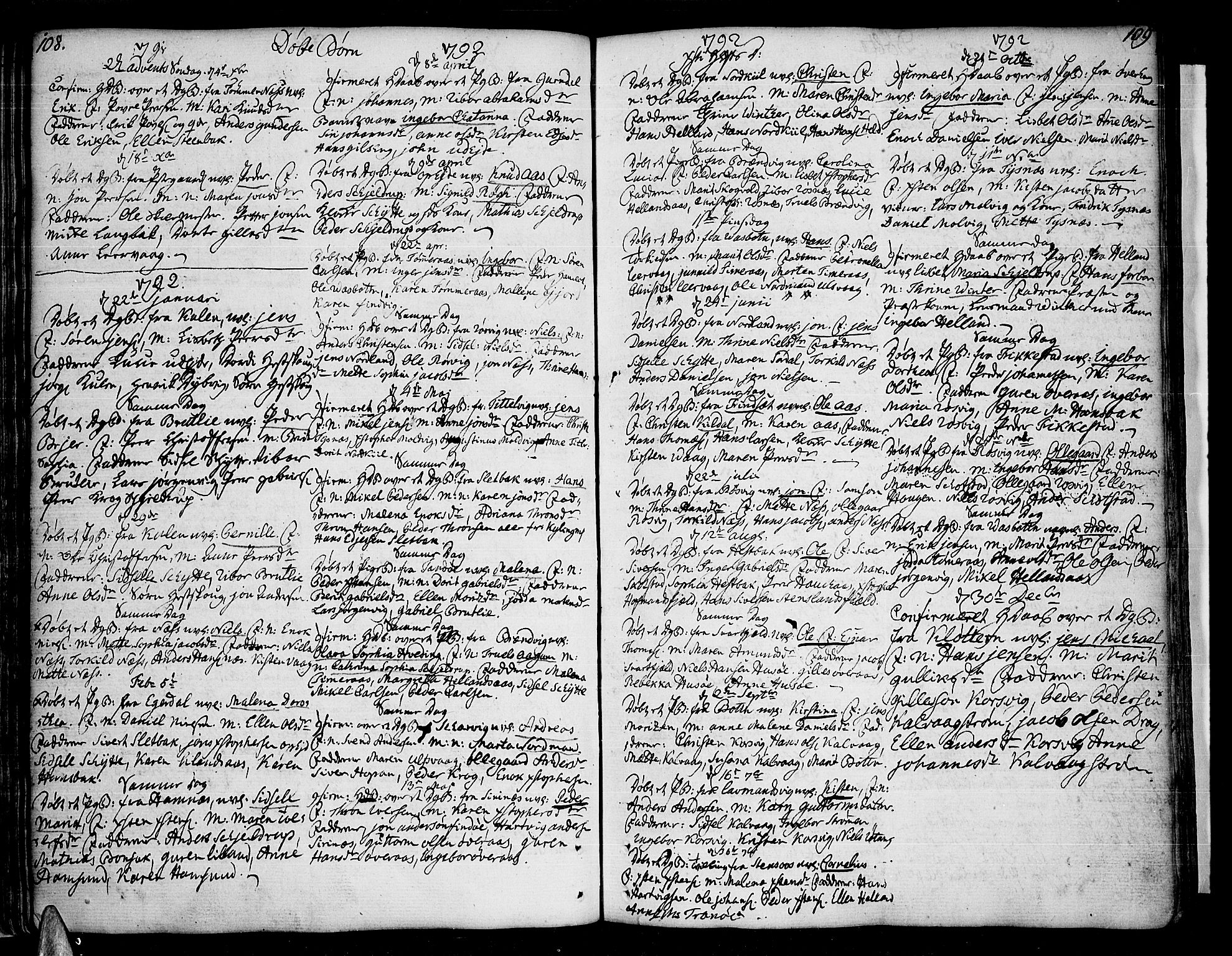 SAT, Ministerialprotokoller, klokkerbøker og fødselsregistre - Nordland, 859/L0841: Parish register (official) no. 859A01, 1766-1821, p. 108-109