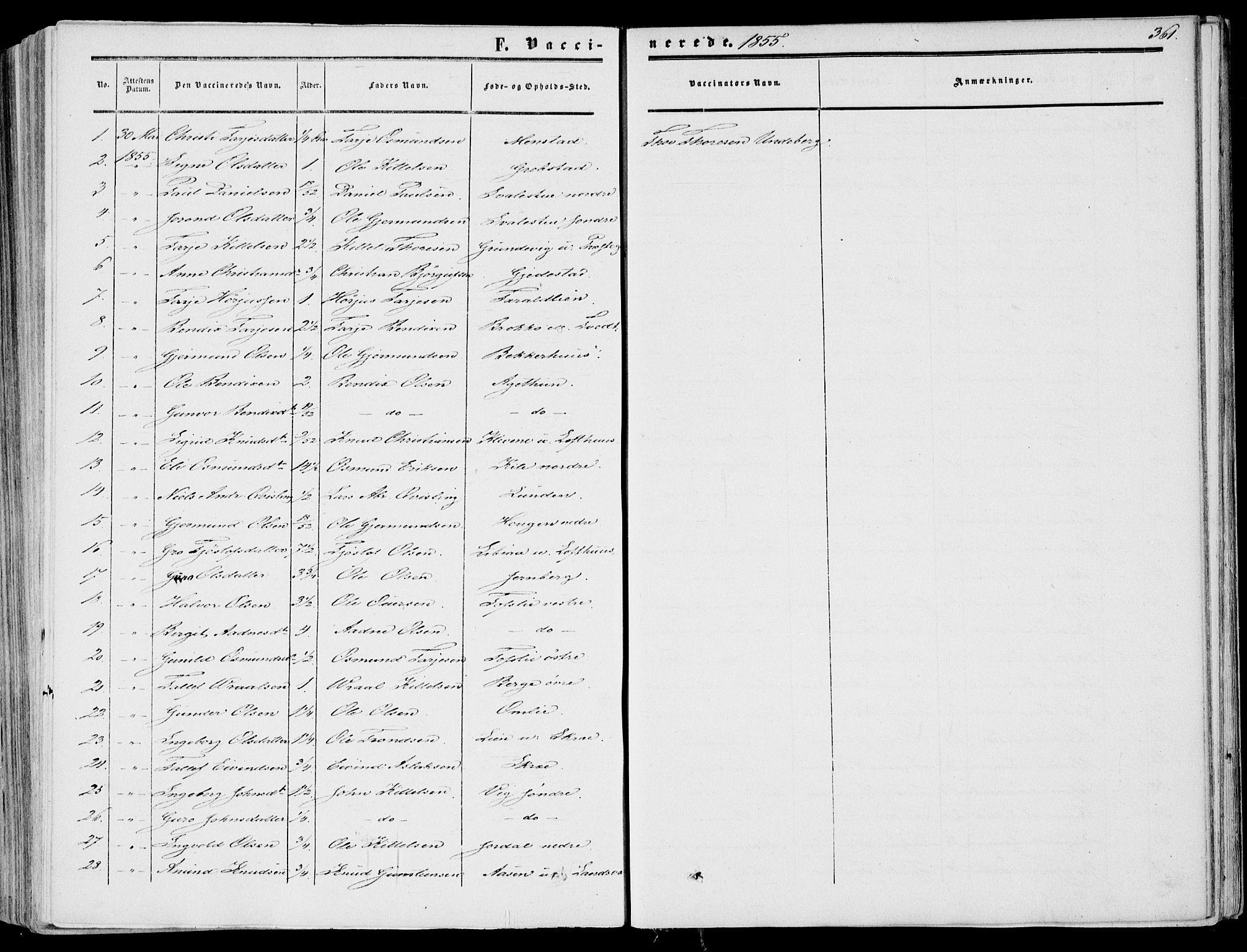 SAKO, Fyresdal kirkebøker, F/Fa/L0005: Parish register (official) no. I 5, 1855-1871, p. 361