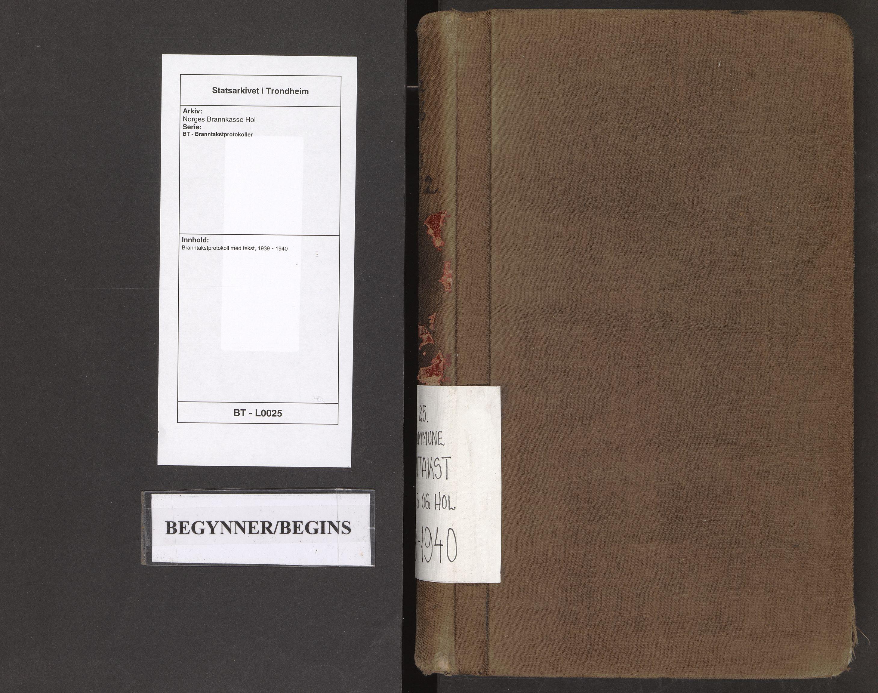 SAT, Norges Brannkasse Hol, BT/L0025: Branntakstprotokoll med tekst, 1939-1940