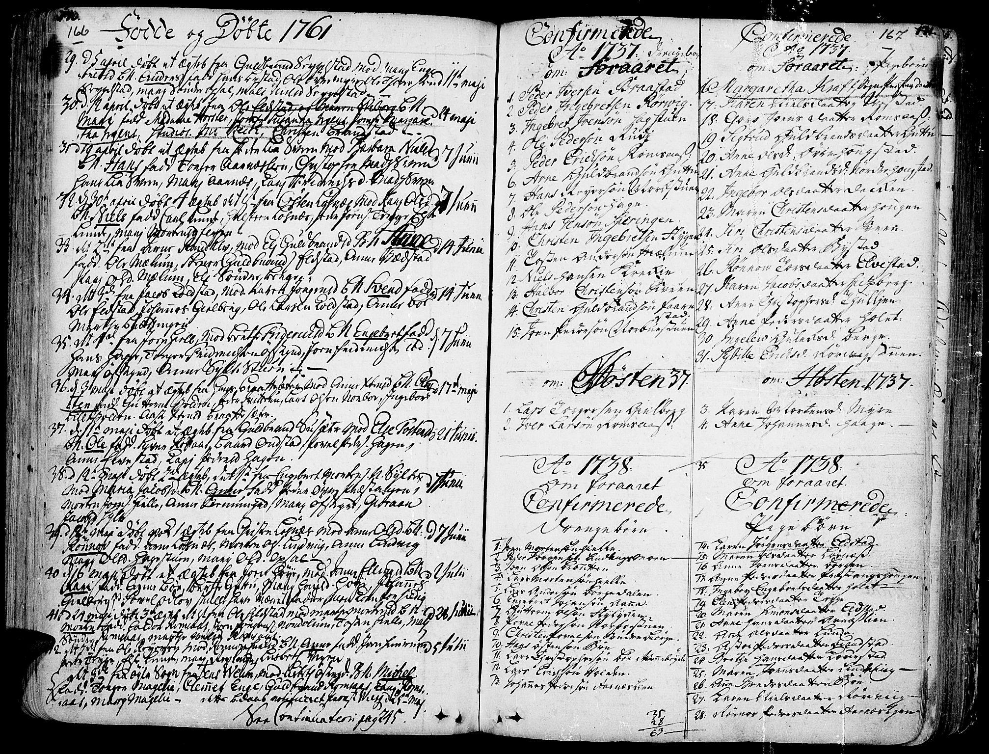 SAH, Ringebu prestekontor, Parish register (official) no. 2, 1734-1780, p. 166-167