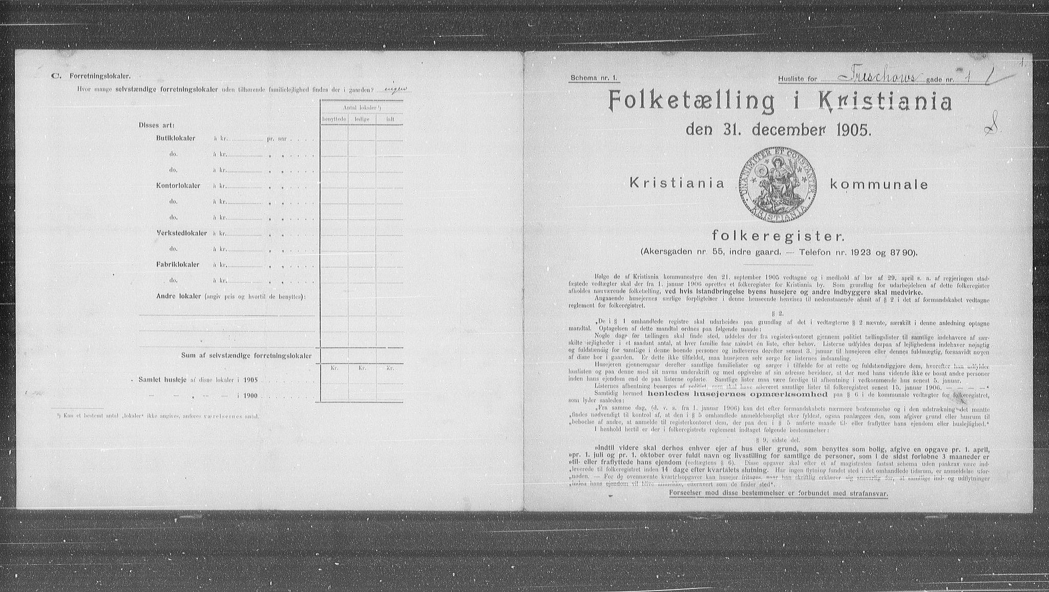OBA, Municipal Census 1905 for Kristiania, 1905, p. 60667