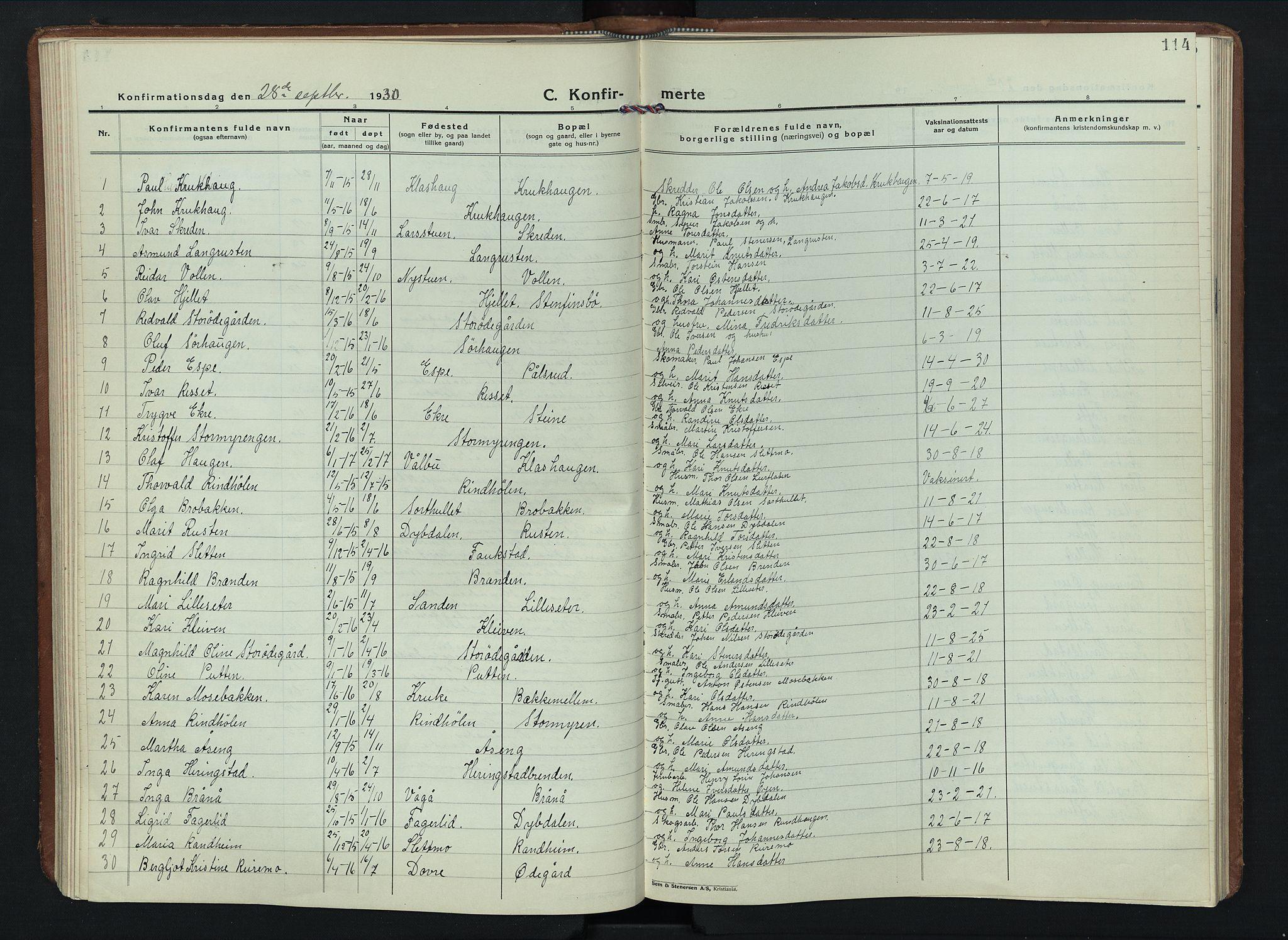 SAH, Sel prestekontor, Parish register (copy) no. 6, 1923-1953, p. 114