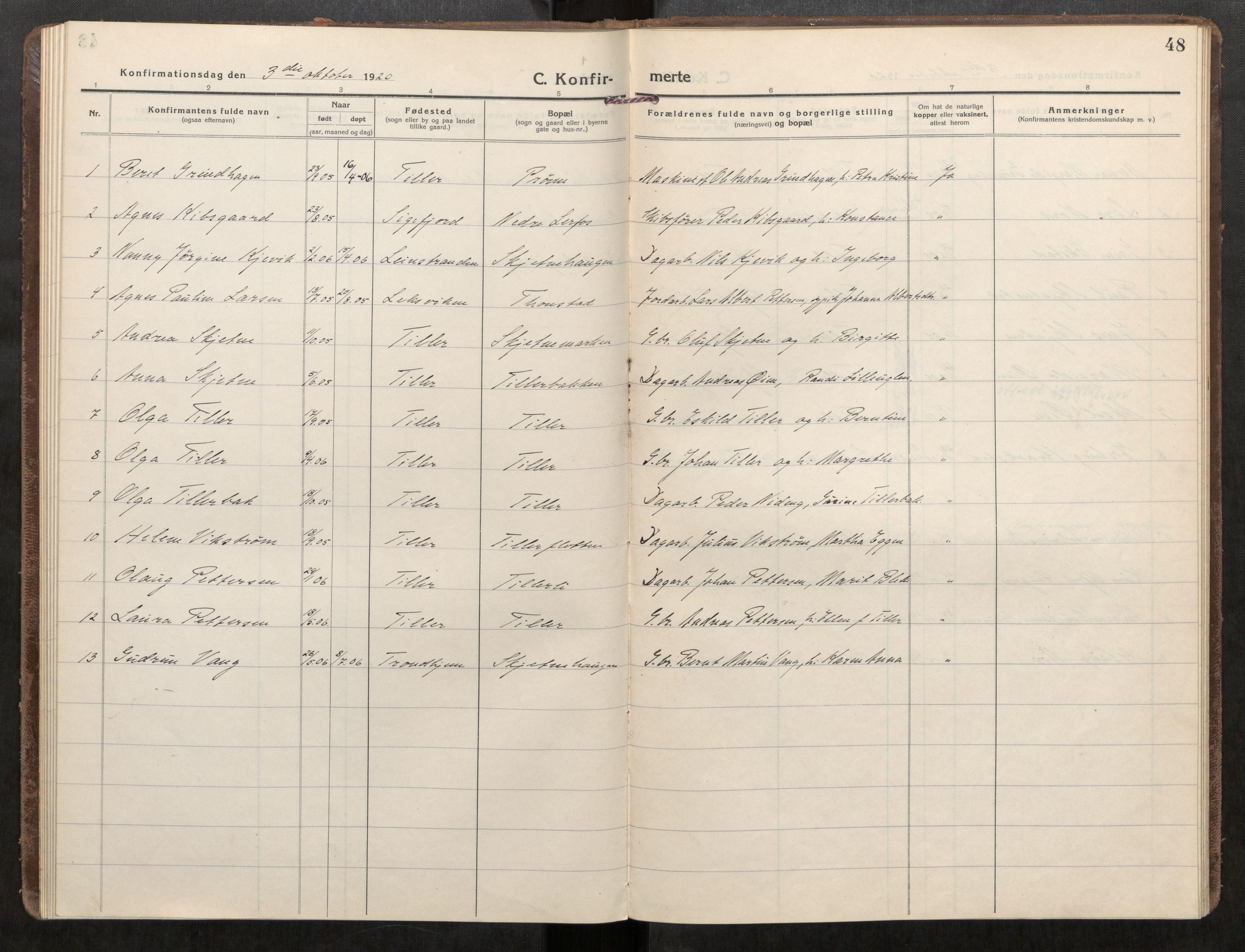 SAT, Klæbu sokneprestkontor, Parish register (official) no. 3, 1917-1924, p. 48