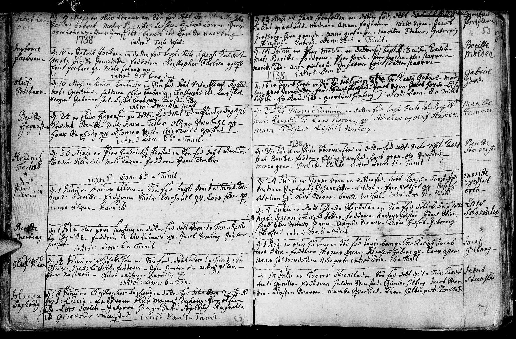 SAT, Ministerialprotokoller, klokkerbøker og fødselsregistre - Nord-Trøndelag, 730/L0272: Parish register (official) no. 730A01, 1733-1764, p. 53
