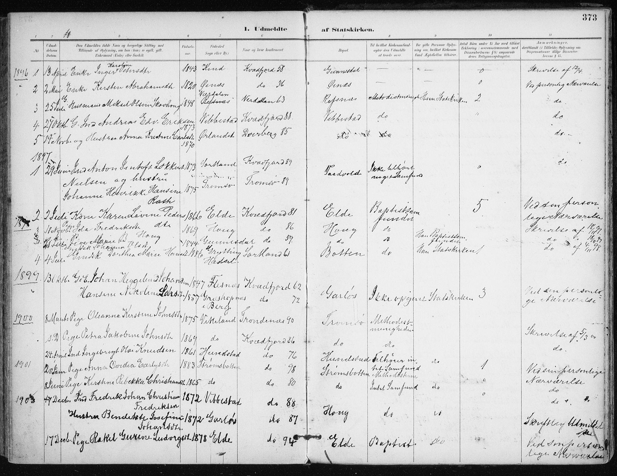 SATØ, Kvæfjord sokneprestkontor, G/Ga/Gaa/L0006kirke: Parish register (official) no. 6, 1895-1914, p. 373
