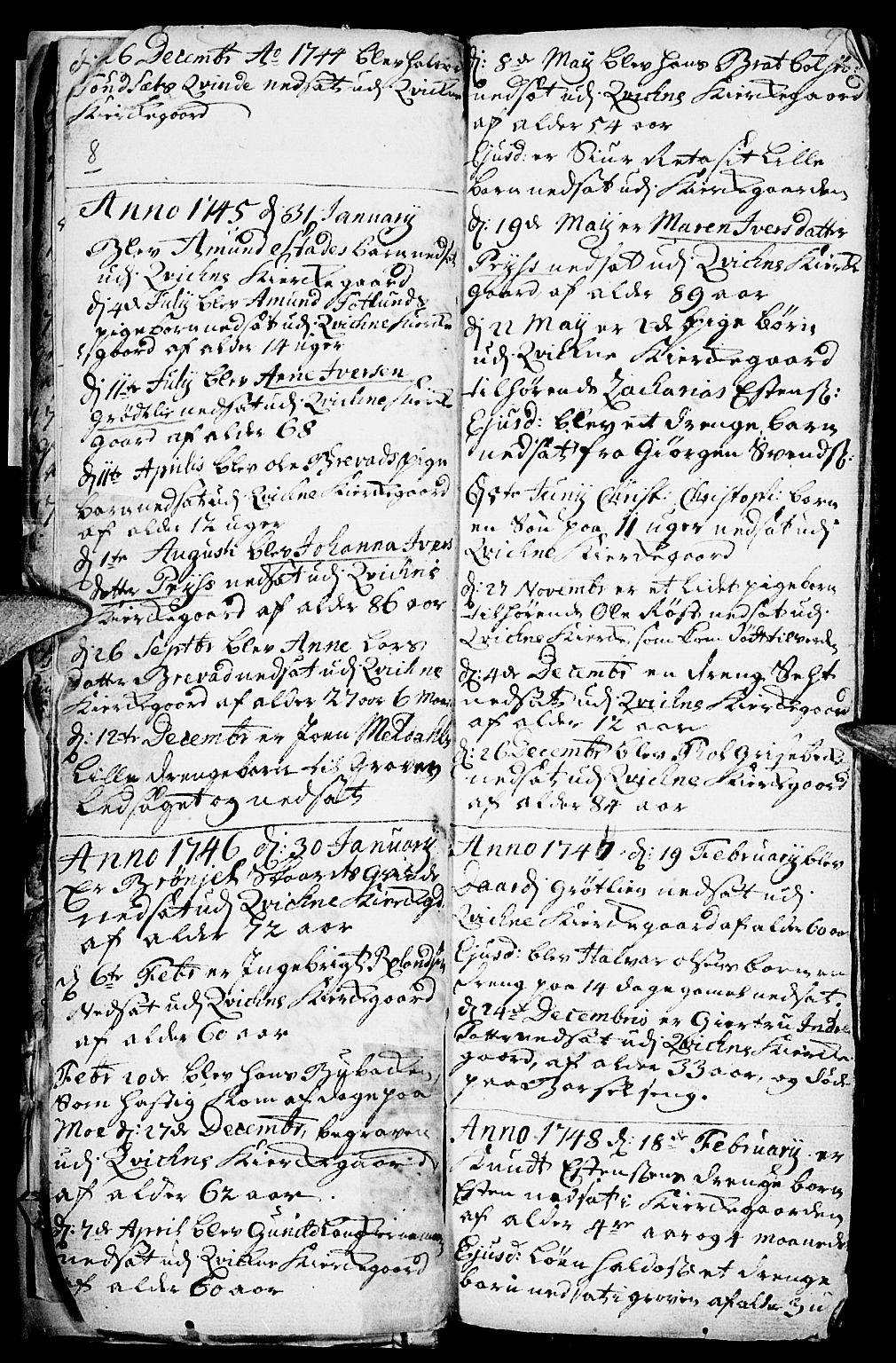 SAH, Kvikne prestekontor, Parish register (official) no. 1, 1740-1756, p. 8-9