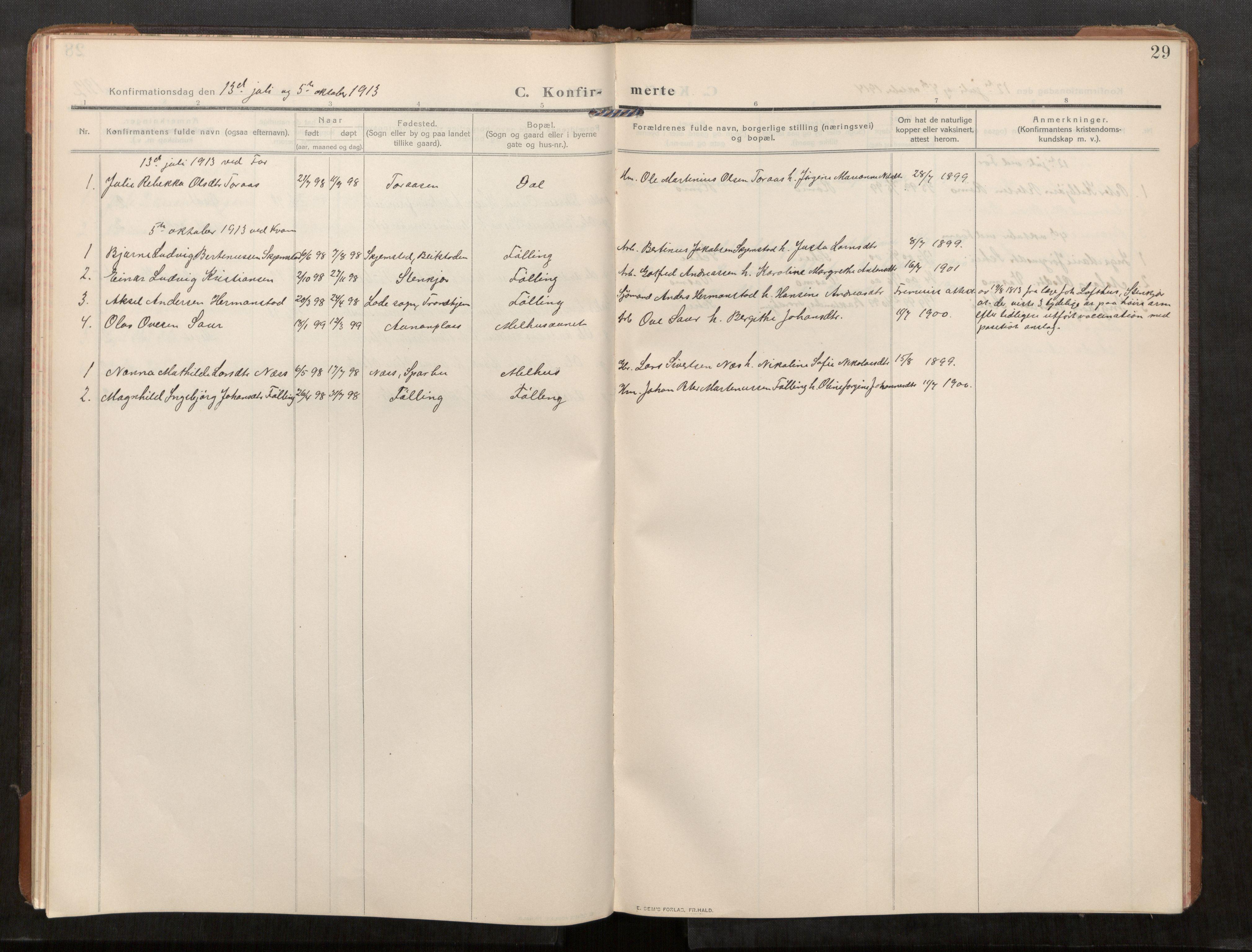 SAT, Stod sokneprestkontor, I/I1/I1a/L0003: Parish register (official) no. 3, 1909-1934, p. 29