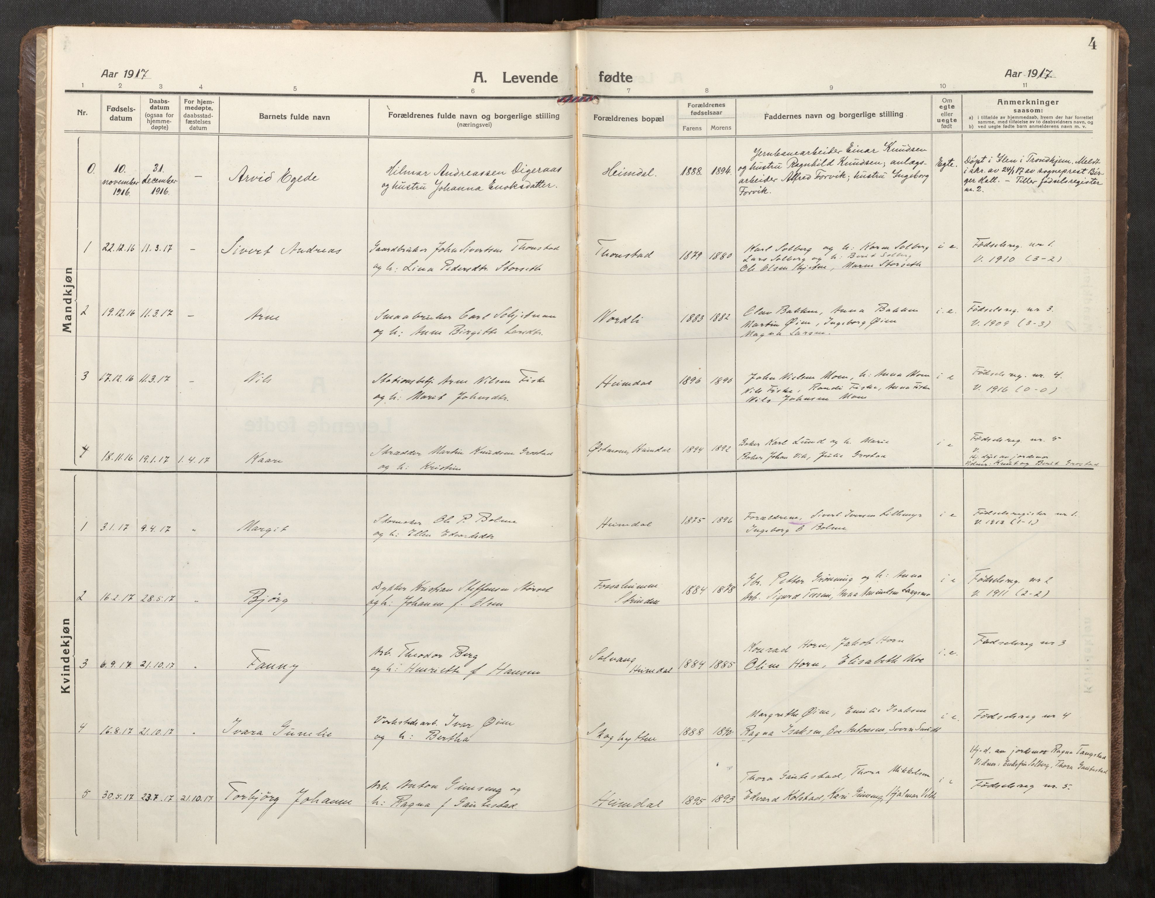 SAT, Klæbu sokneprestkontor, Parish register (official) no. 3, 1917-1924, p. 4
