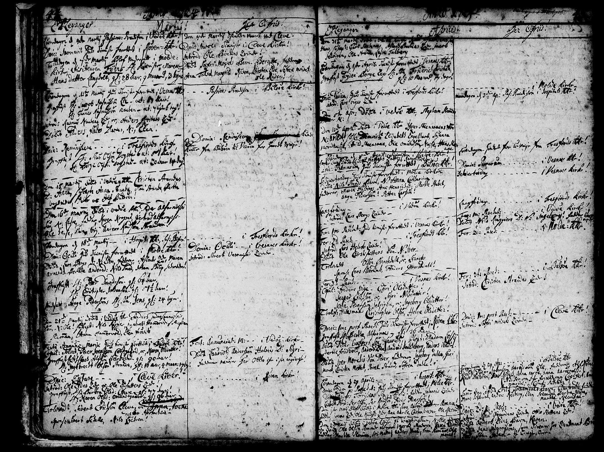 SAT, Ministerialprotokoller, klokkerbøker og fødselsregistre - Møre og Romsdal, 547/L0599: Parish register (official) no. 547A01, 1721-1764, p. 46-47
