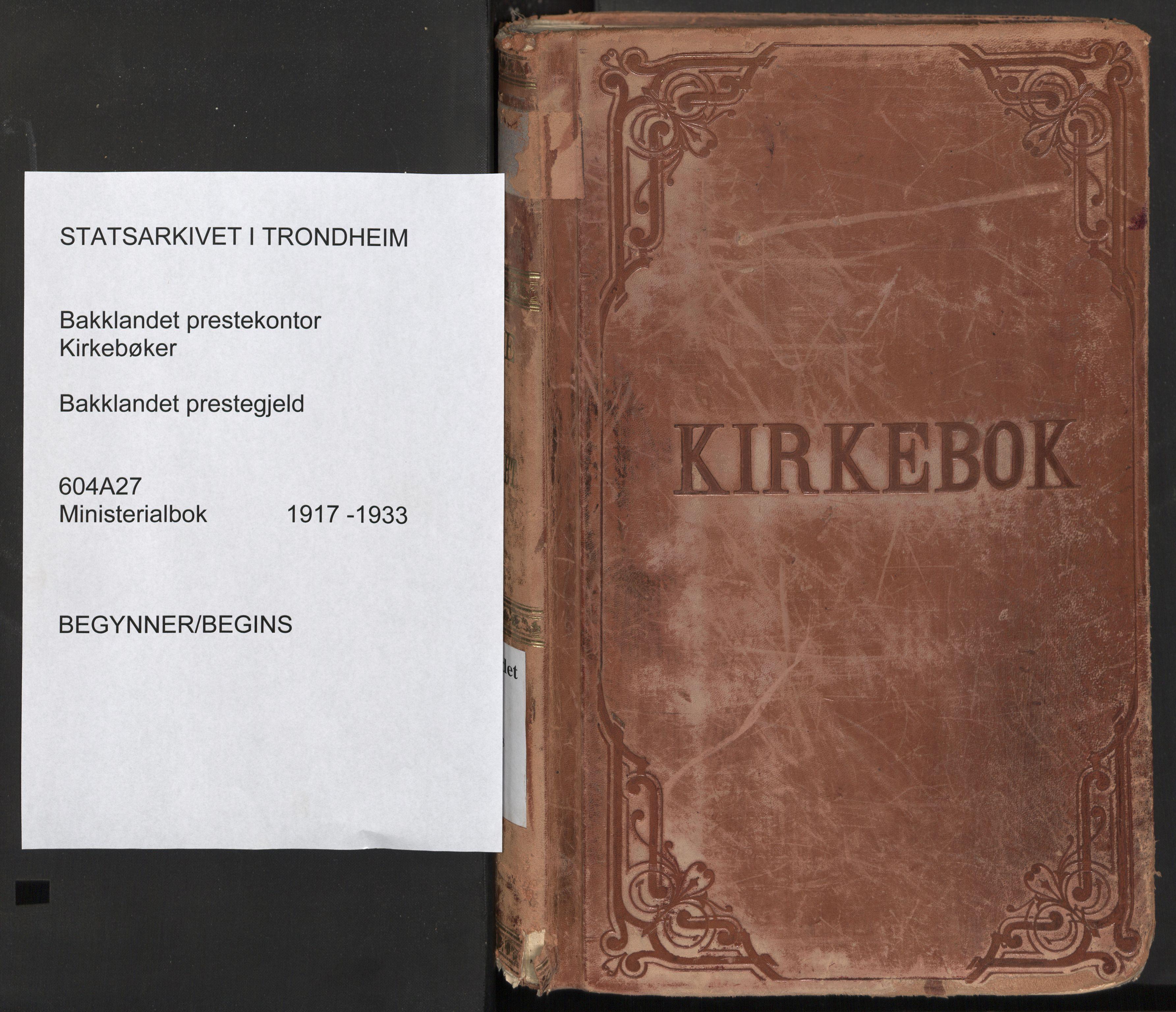 SAT, Ministerialprotokoller, klokkerbøker og fødselsregistre - Sør-Trøndelag, 604/L0207: Parish register (official) no. 604A27, 1917-1933