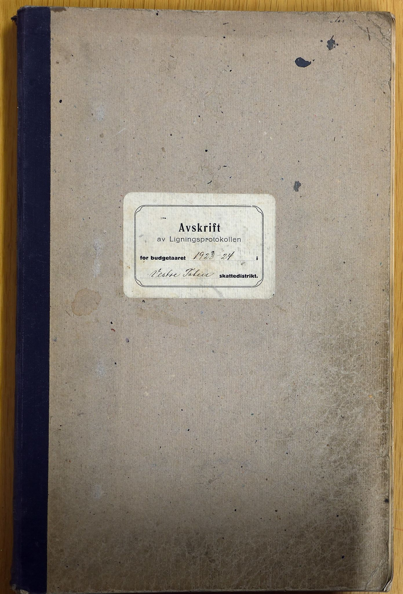 KVT, Vestre Toten municipality archive – Vestre Toten, Tax assessment protocol 1923-1924, 1923-1924