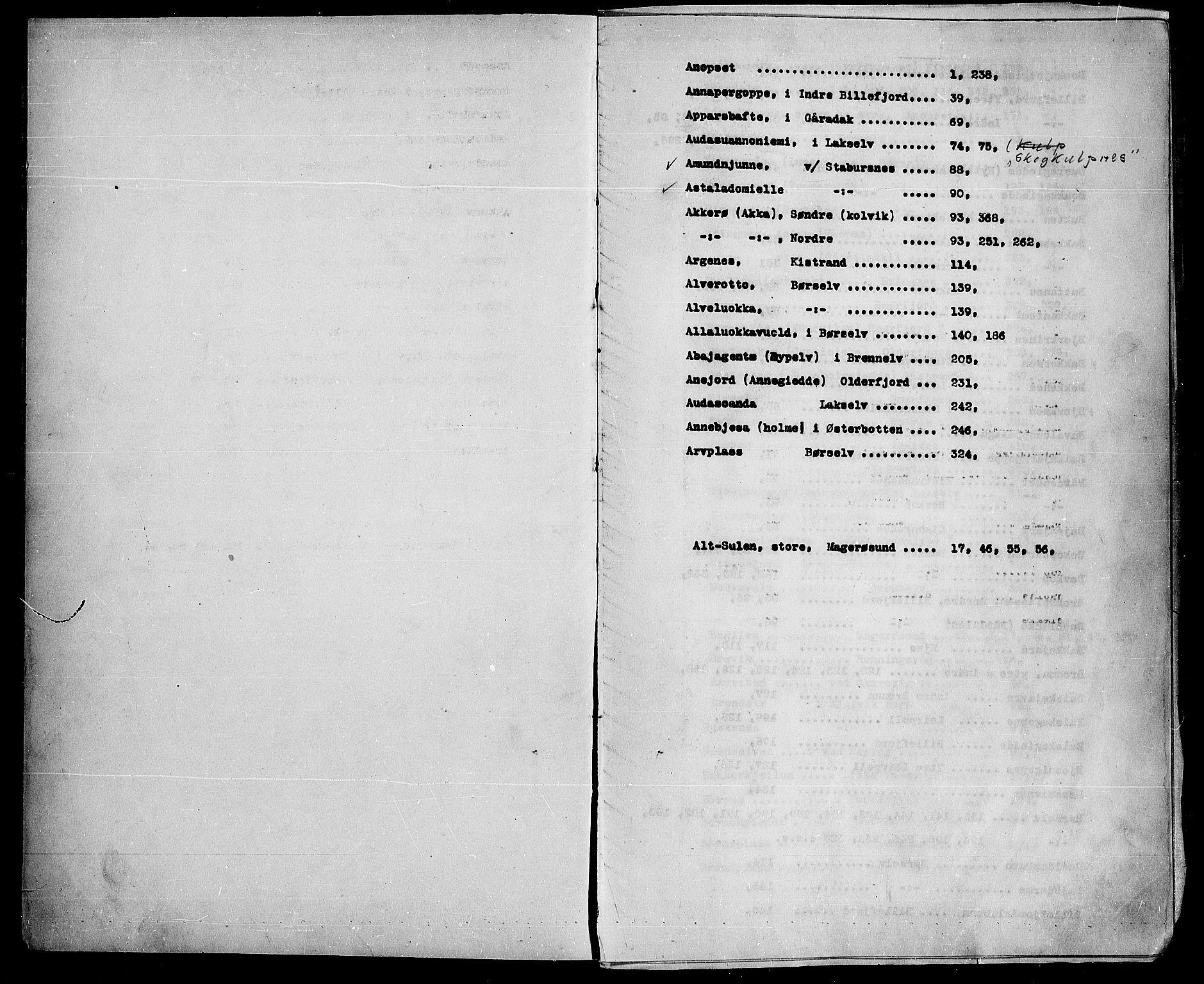 SATØ, Lensmannen i Kistrand*, 1858-1882